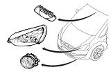 Электрические элементы.Передн. лампы и лампы освещ. салона