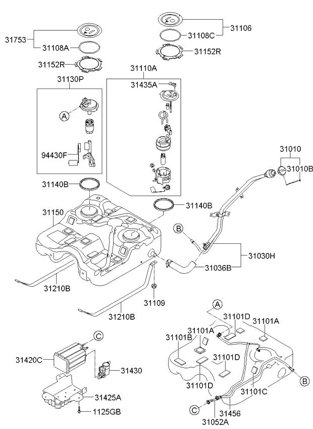 Kia 31030-1U000 Fuel Tank Filler Neck