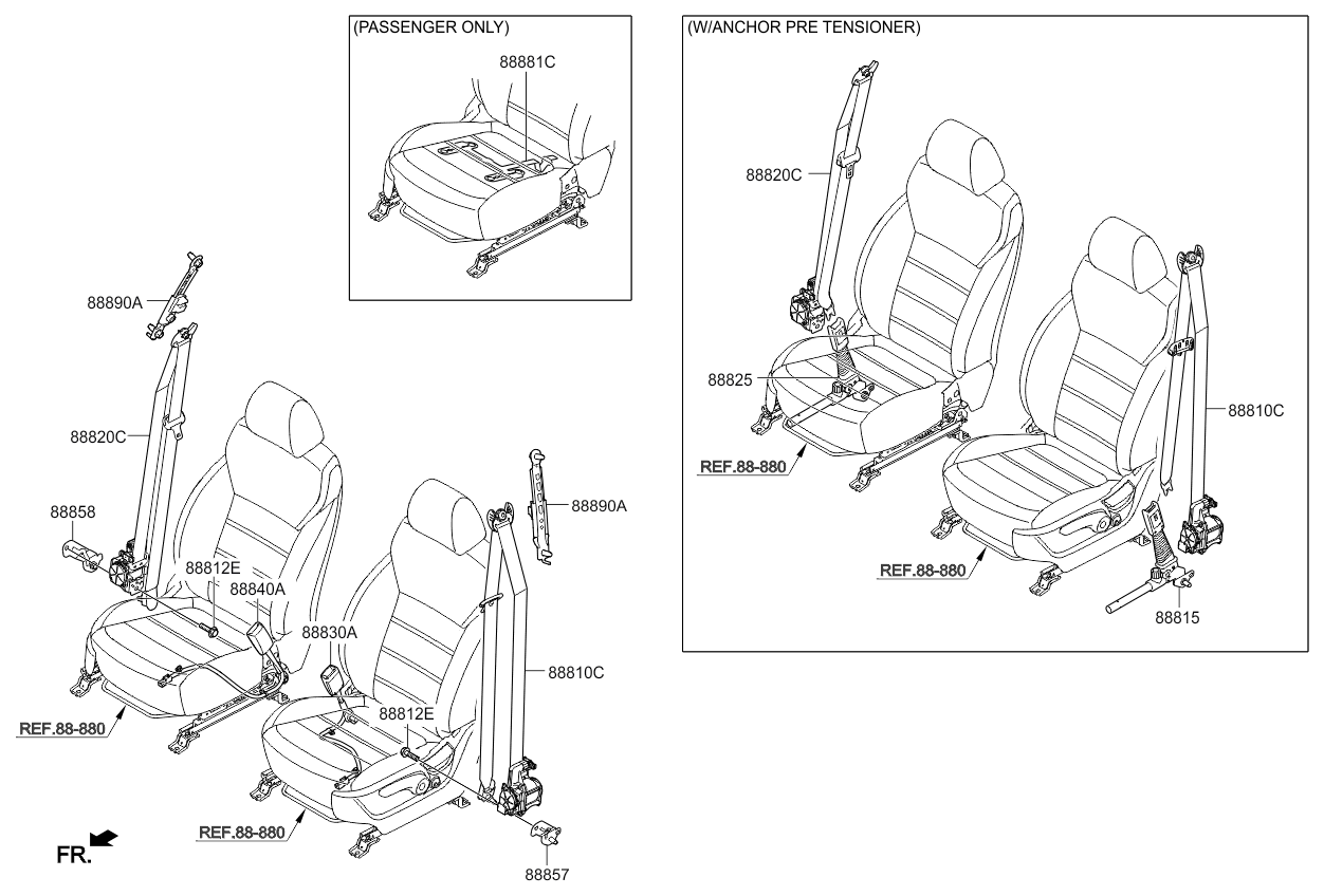 Kia Sorento: Pre-tensioner seat belt