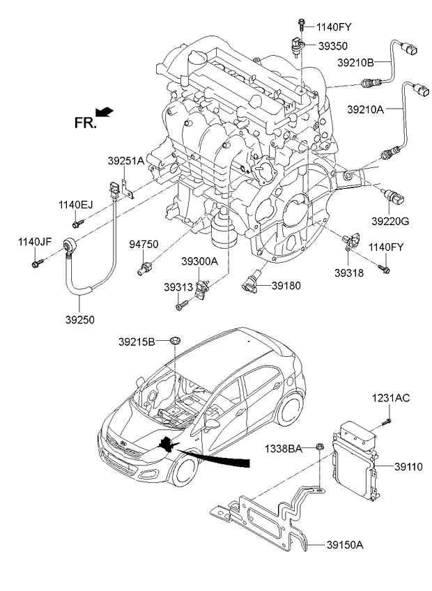 2013 kia rio knock sensor location