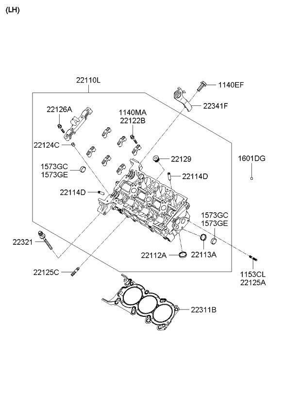 Kia 22110-3C100A Engine Cylinder Head