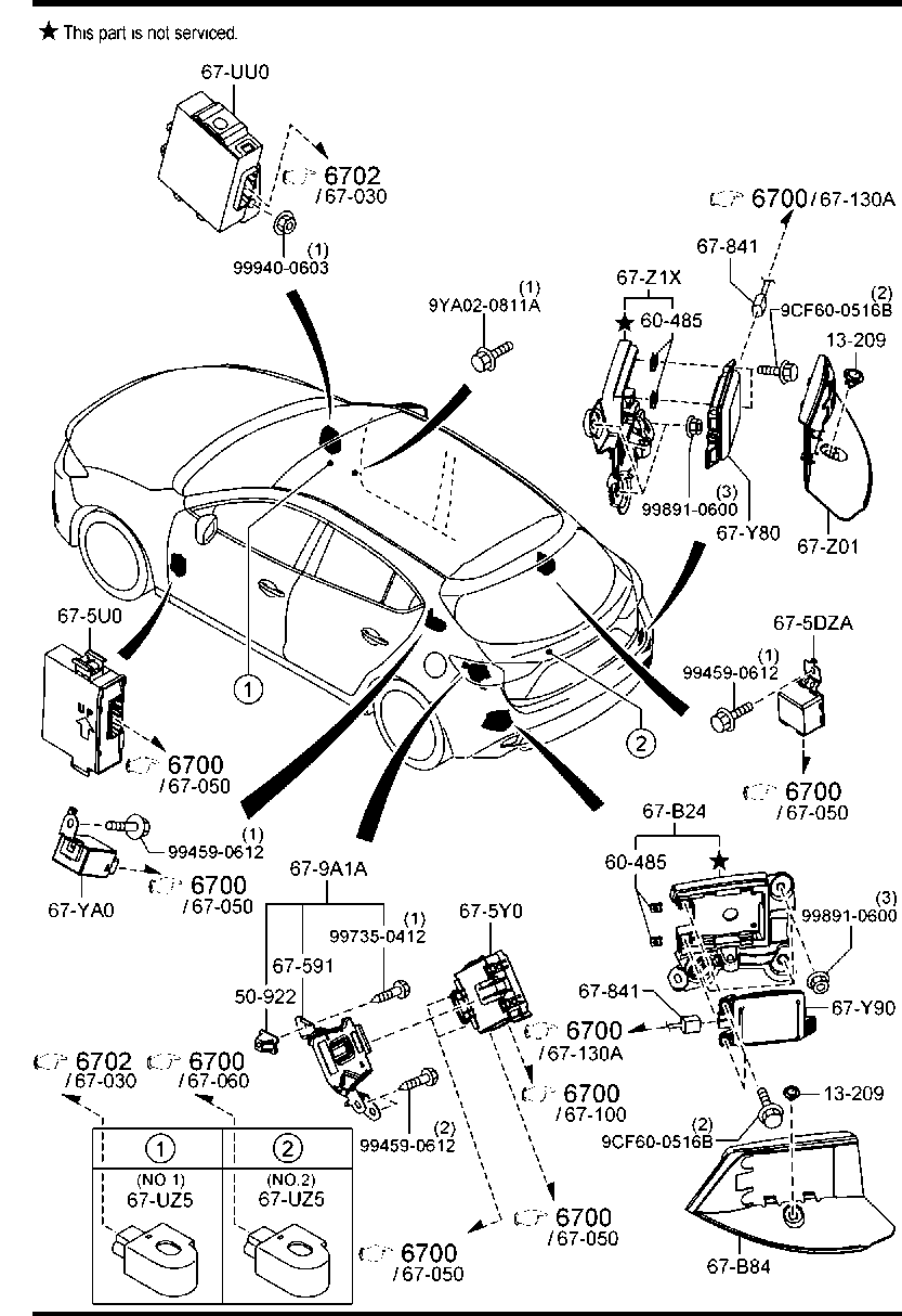 europe mazda3 bn 06 2016 body electronics 6630ab body relays Mazda 3 Headlight Parts Diagram code part number name note