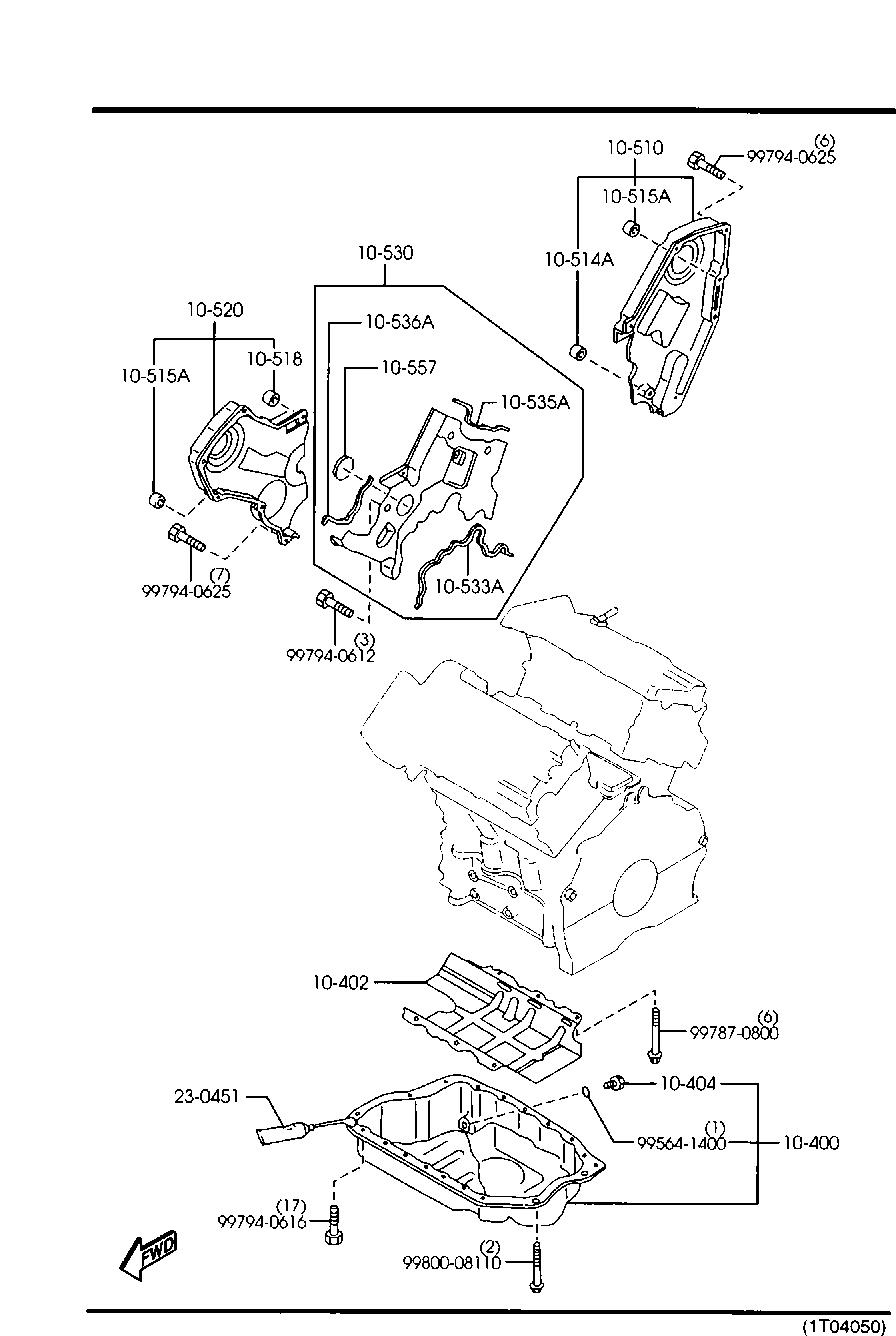 Mazda KL01-10-557 Engine Timing Cover Gasket