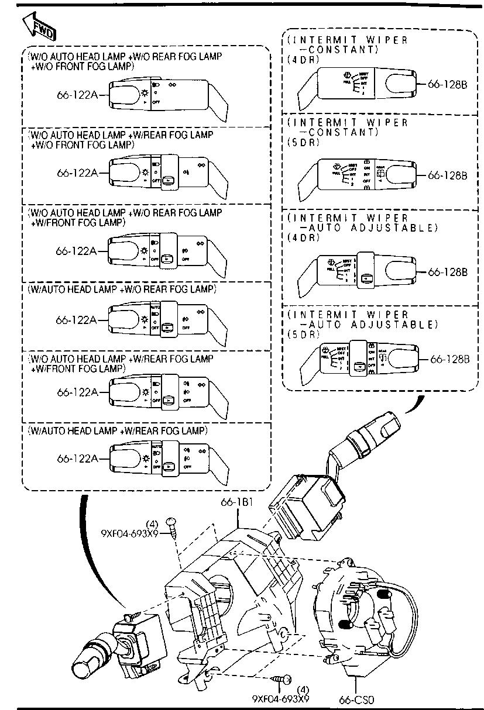 Mazda BN8V-66-128 Windshield Wiper Switch