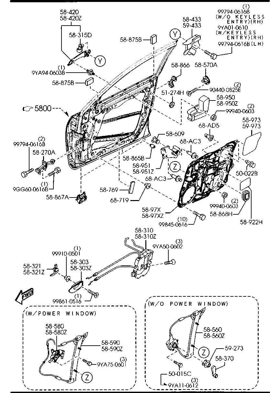 Mazda BP4L-59-560A Window Regulator