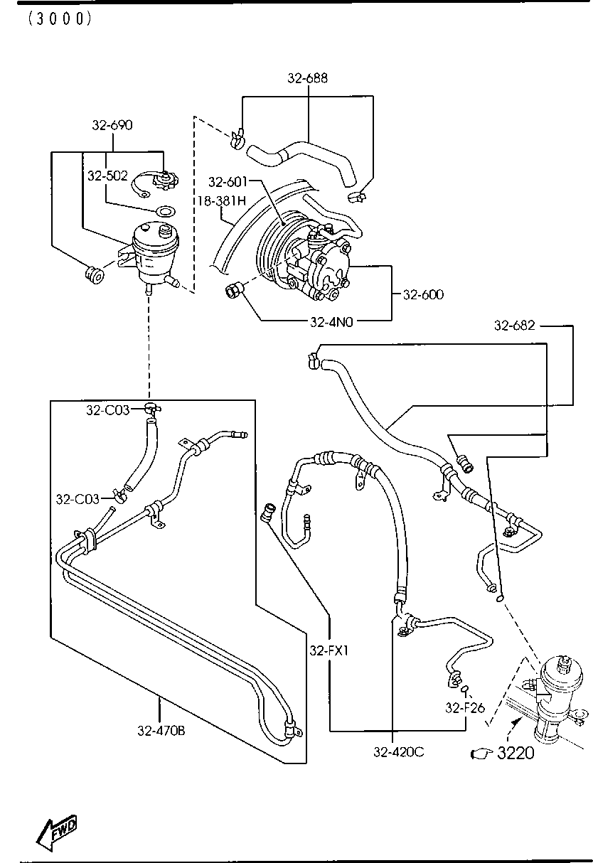 Mazda EC02-32-690 Power Steering Reservoir
