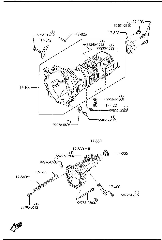 Europe B2500 Un 12 2002 Gasoline Engine 4 Cylinder Transmission Case 530 Diagram List Of Parts
