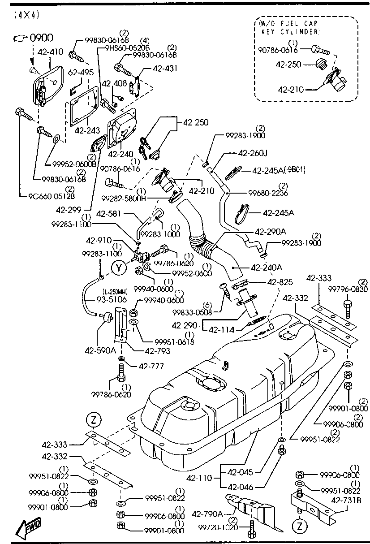Mazda BC1M-42-231 Fuel Tank Filler Neck