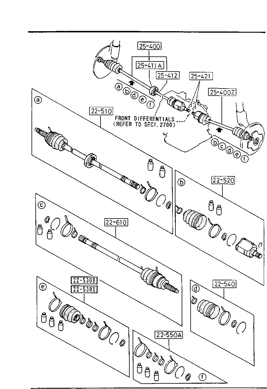 Mazda F005-25-400D CV Axle Shaft