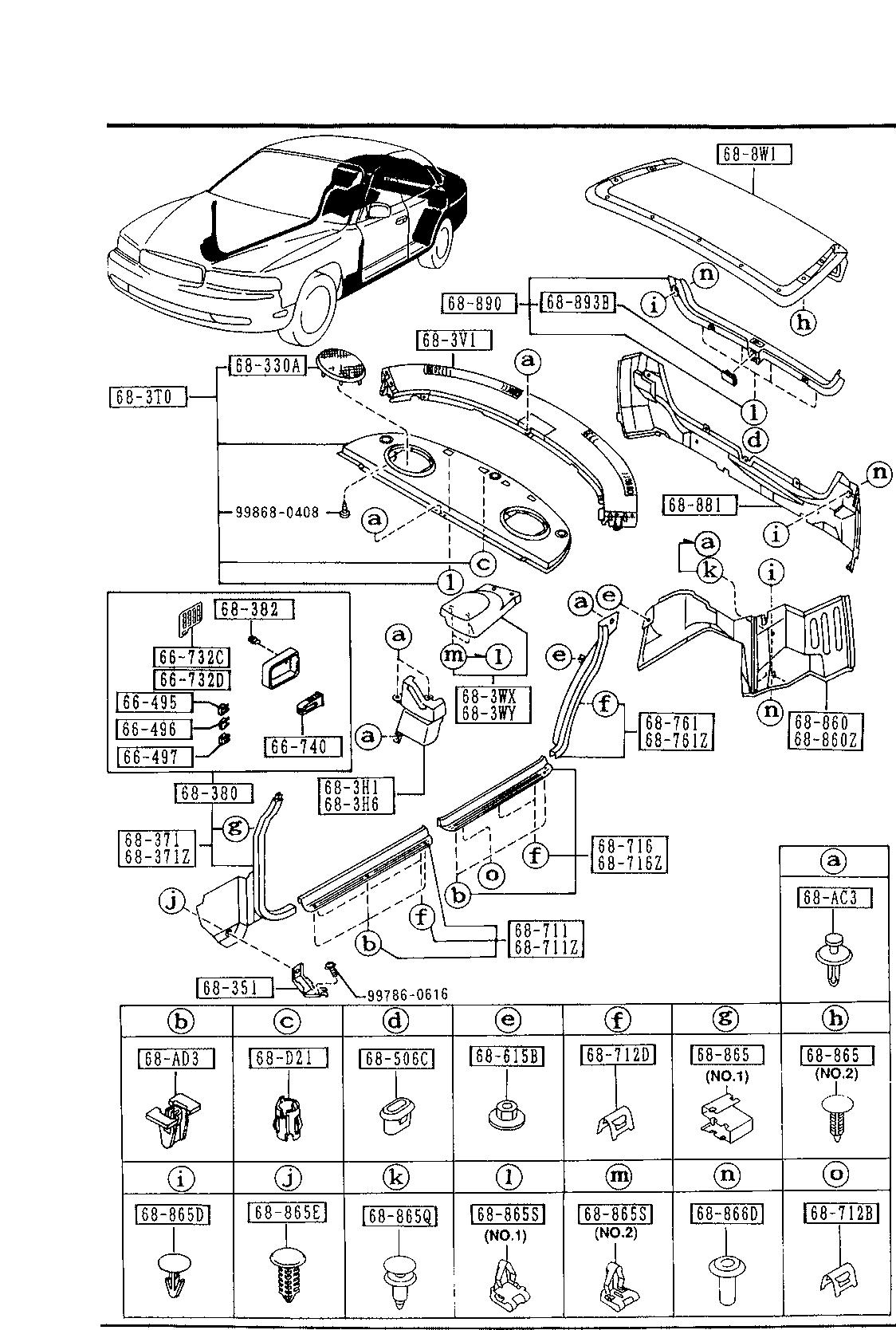 USA, 1993 929, BODY INTERIOR TRIM, 6840 - TRIMS & SCUFF