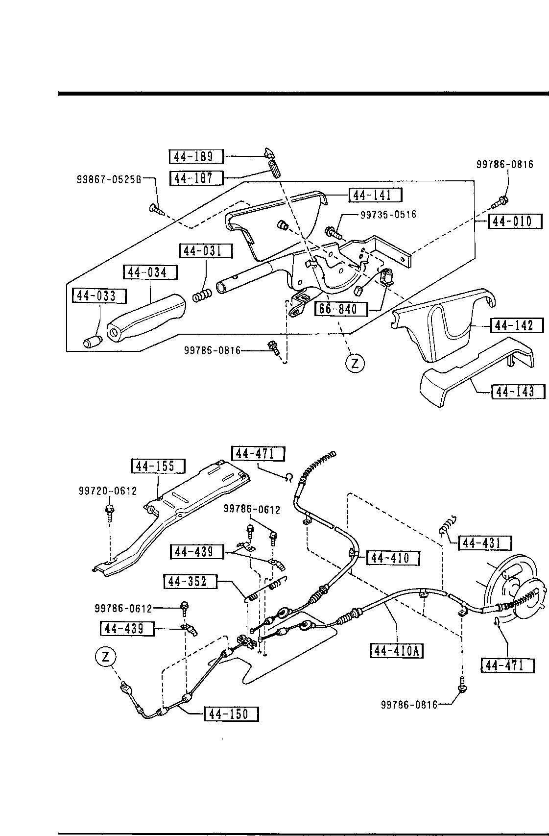 Mazda LA01-44-150A Parking Brake Cable