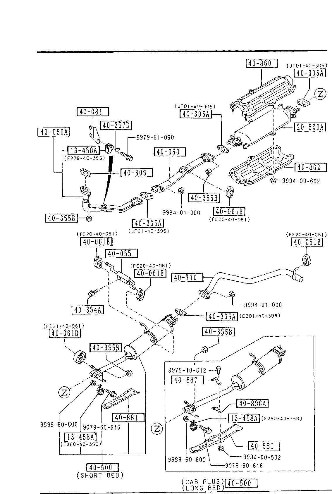 [DIAGRAM_4PO]  USA, 1991 B2200, GASOLINE-ENGINE SUPPLEMENT, 4000 A - EXHAUST SYSTEM  (2200CC)(EGI) - Catcar.info | Mazda B2200 Engine Exhaust Diagram |  | CATCAR.INFO