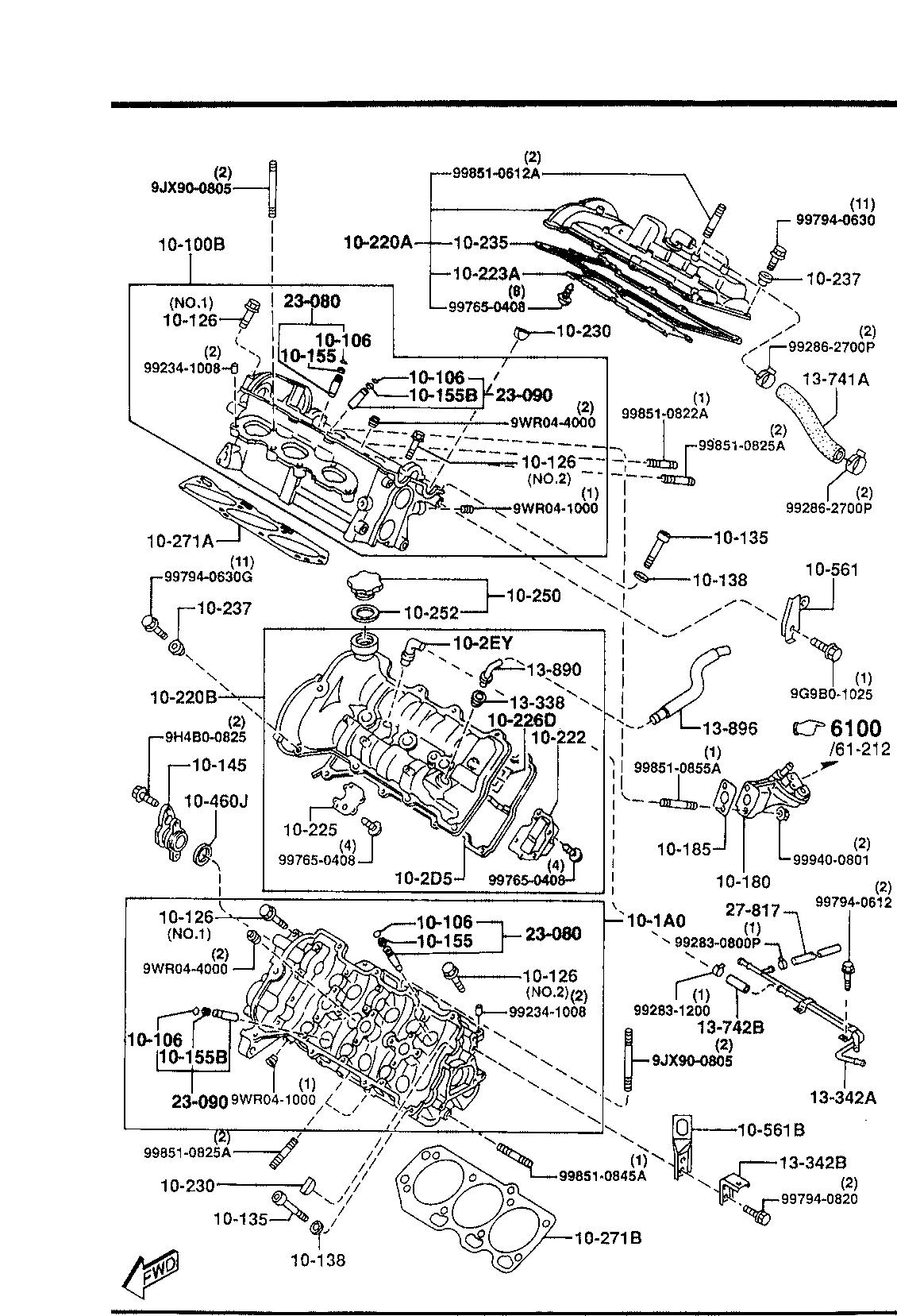 Usa 1998 Millenia Gasoline Engine V6 Cylinder Transmission 1010a Head Diagram List Of Parts