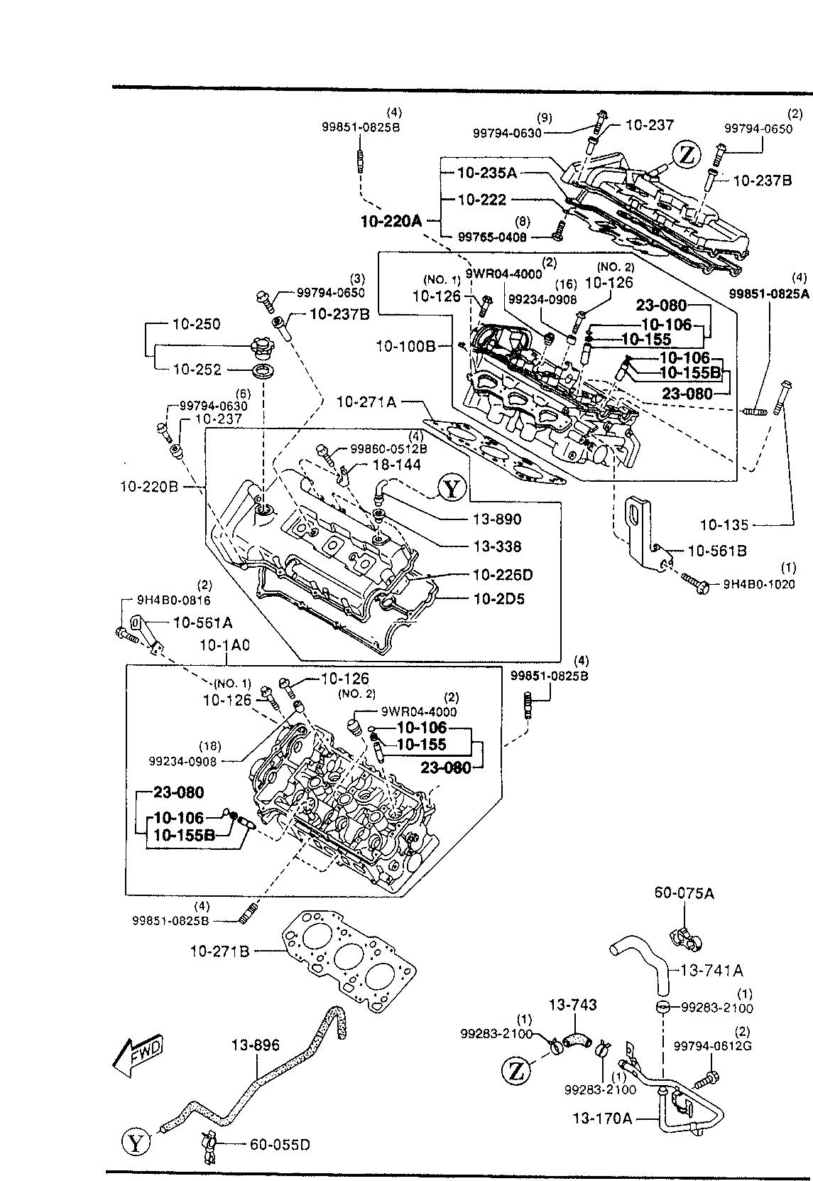 Usa 1998 Millenia Gasoline Engine V6 Cylinder Transmission 1010b Head Diagram List Of Parts