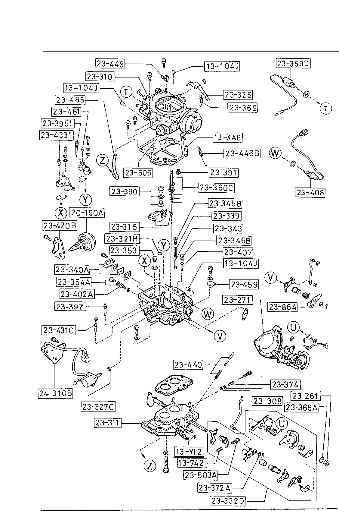 USA, 1987 B2600, GASOLINE-ENGINE SUPPLEMENT, 1360 - CARBURETOR COMPONENTS  (2000CC) - Catcar.infoCATCAR.INFO