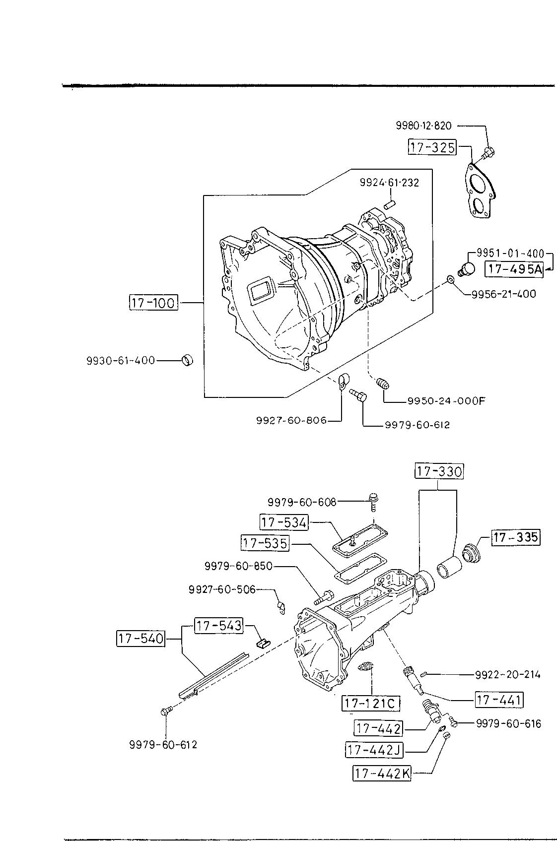 USA, 1987 B2000, GASOLINE-ENGINE & TRANSMISSION, 1700 - MANUAL TRANSMISSION  CASE (4-SPEED) - Catcar.infoCATCAR.INFO