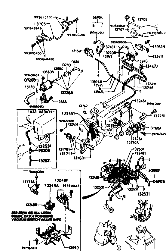 usa 1984 rx 7 engine 1380aa exhaust side emission controls 13b Ford 460 Vacuum Line Diagram code name part number note