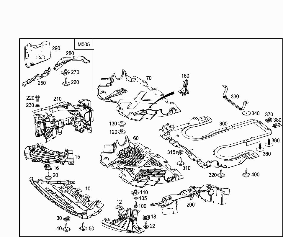 Car Europe 222 986 52 Chassis Sheet Metal Air Intake 030