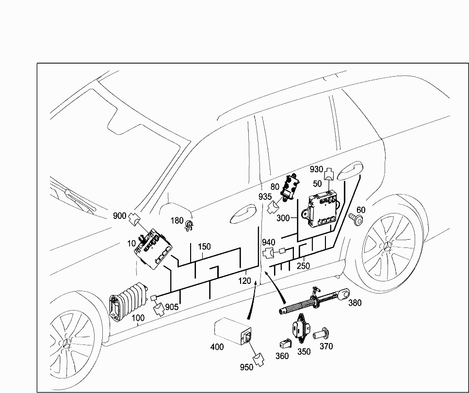Car North America 212 299 82 Electrical System 607 Door Wiring