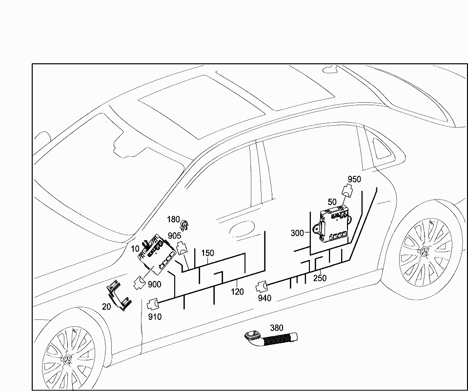 Car North America 222 964 82 Electrical System 607 Door Wiring