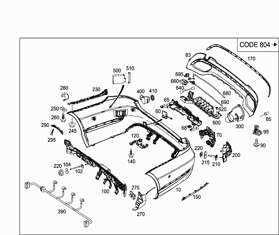 Car North America 212 077 88 Attachment Parts 075 Rear Bumper