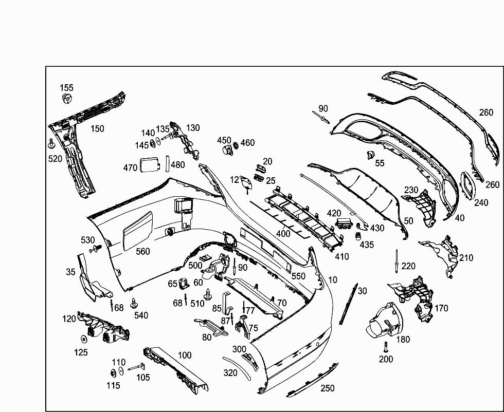 Car Japan 205 037 88 Attachment Parts 075 Rear Bumper