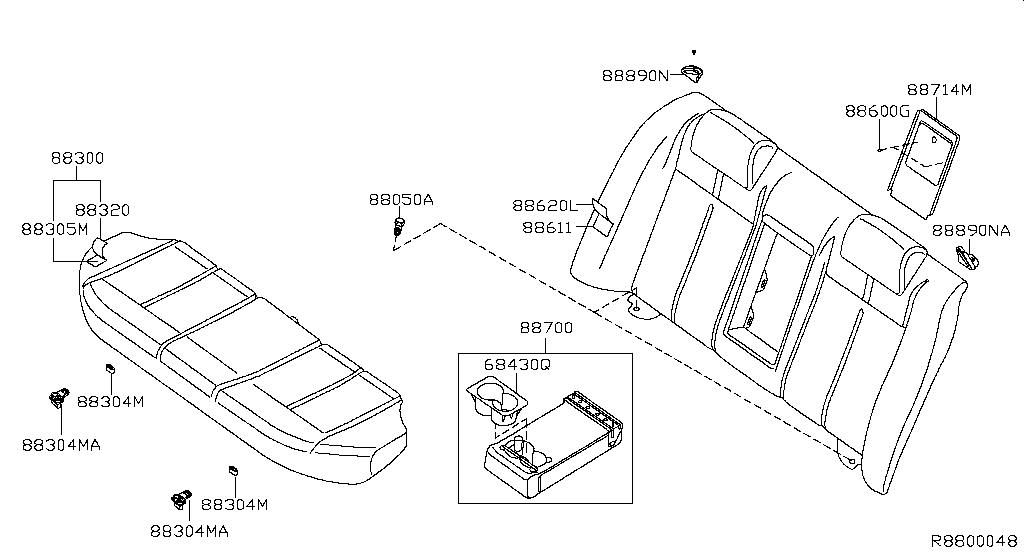 Altima Hybrid L32hv Seat Seat Belt Rear Seat