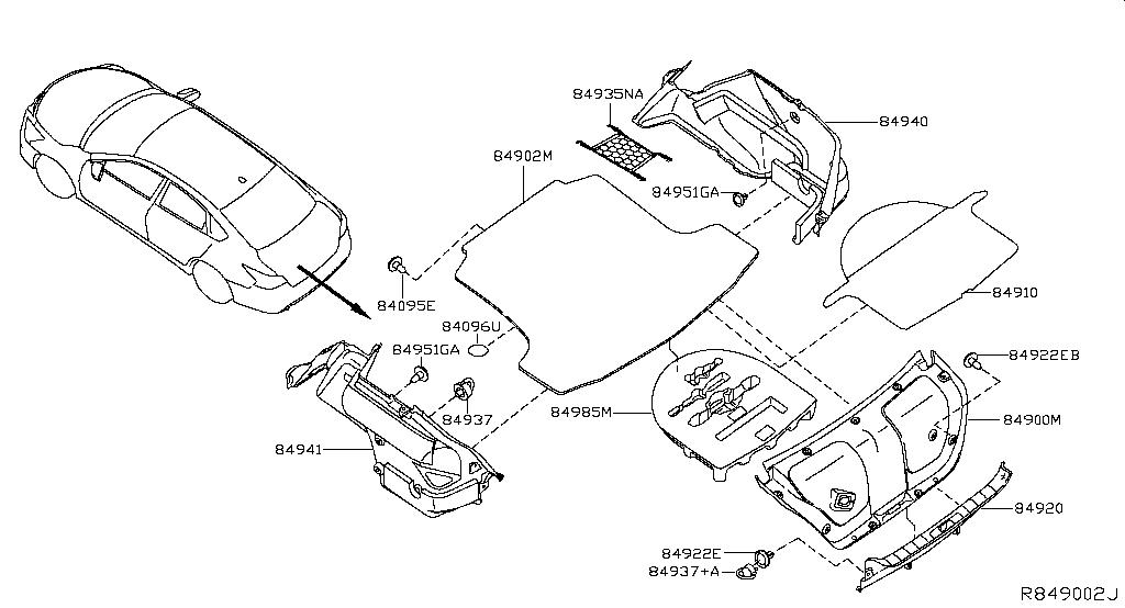 Altima L33 Bodyside Rear Trunk Luggage Room