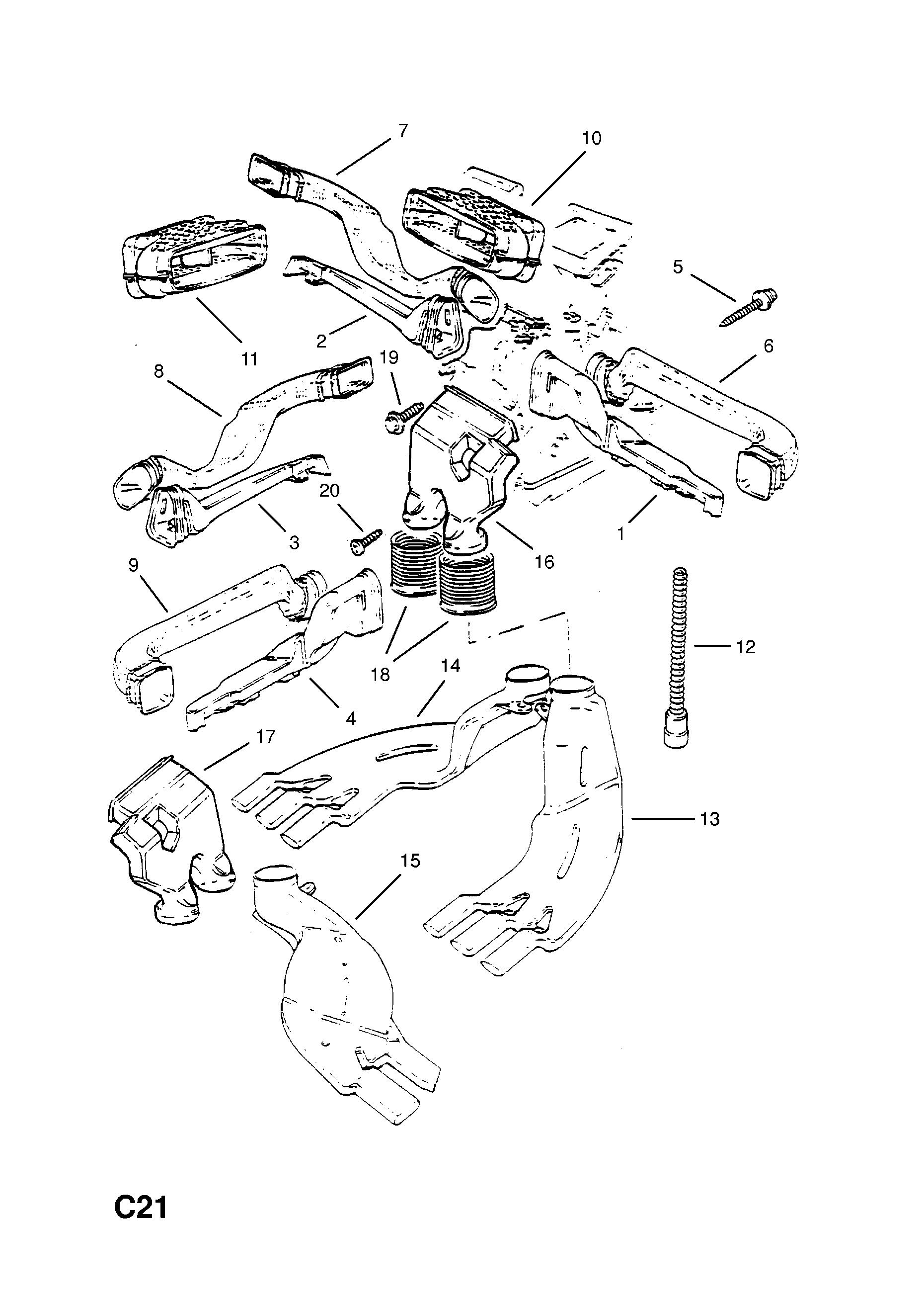 Opel Calibra 1989 1997 C Body Interior Fittings 8 Air Vacuum Diagram Gm Part Number Genuine Description Range Container And Hose