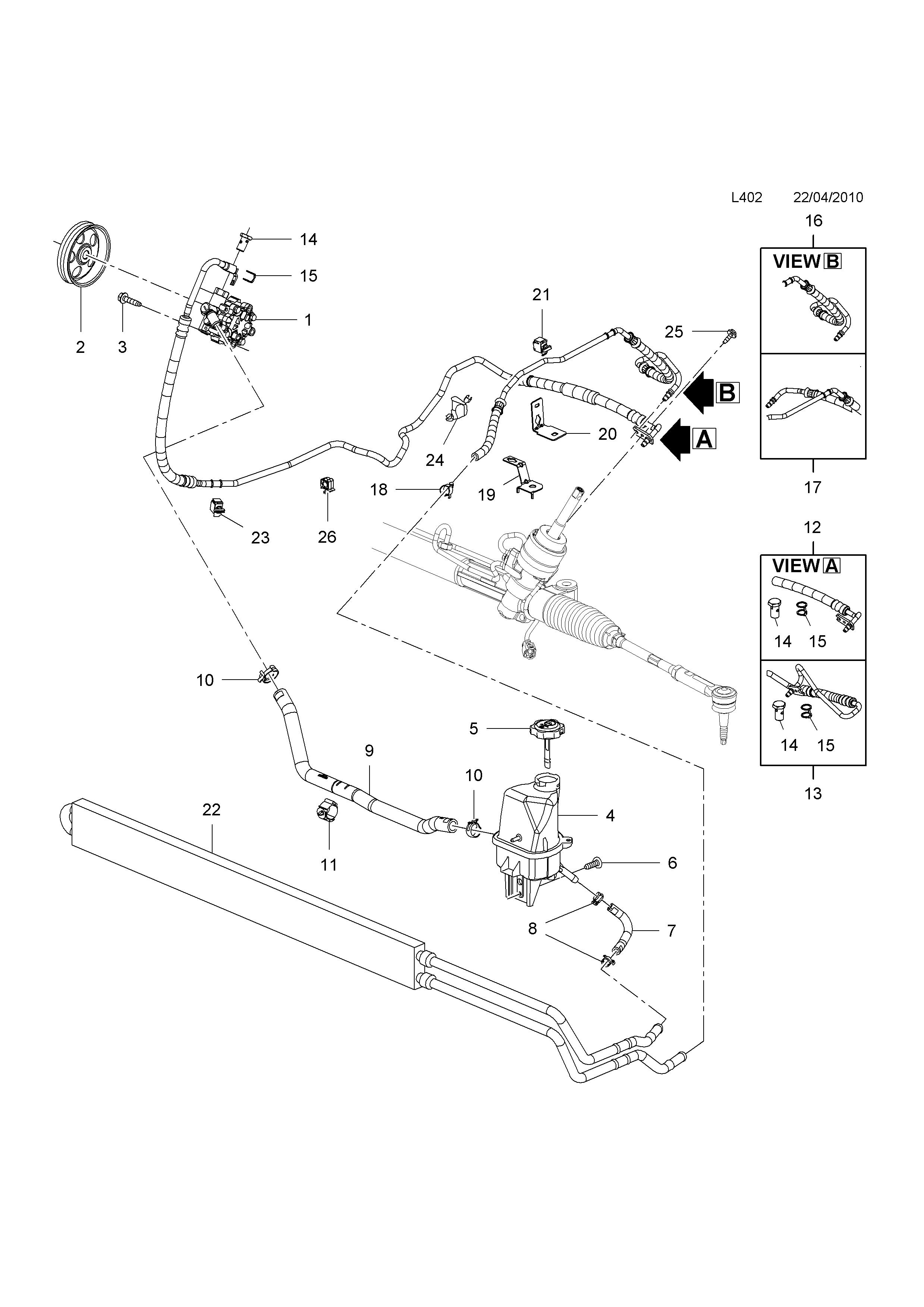 gm-part number, genuine part number, description, range  power steering