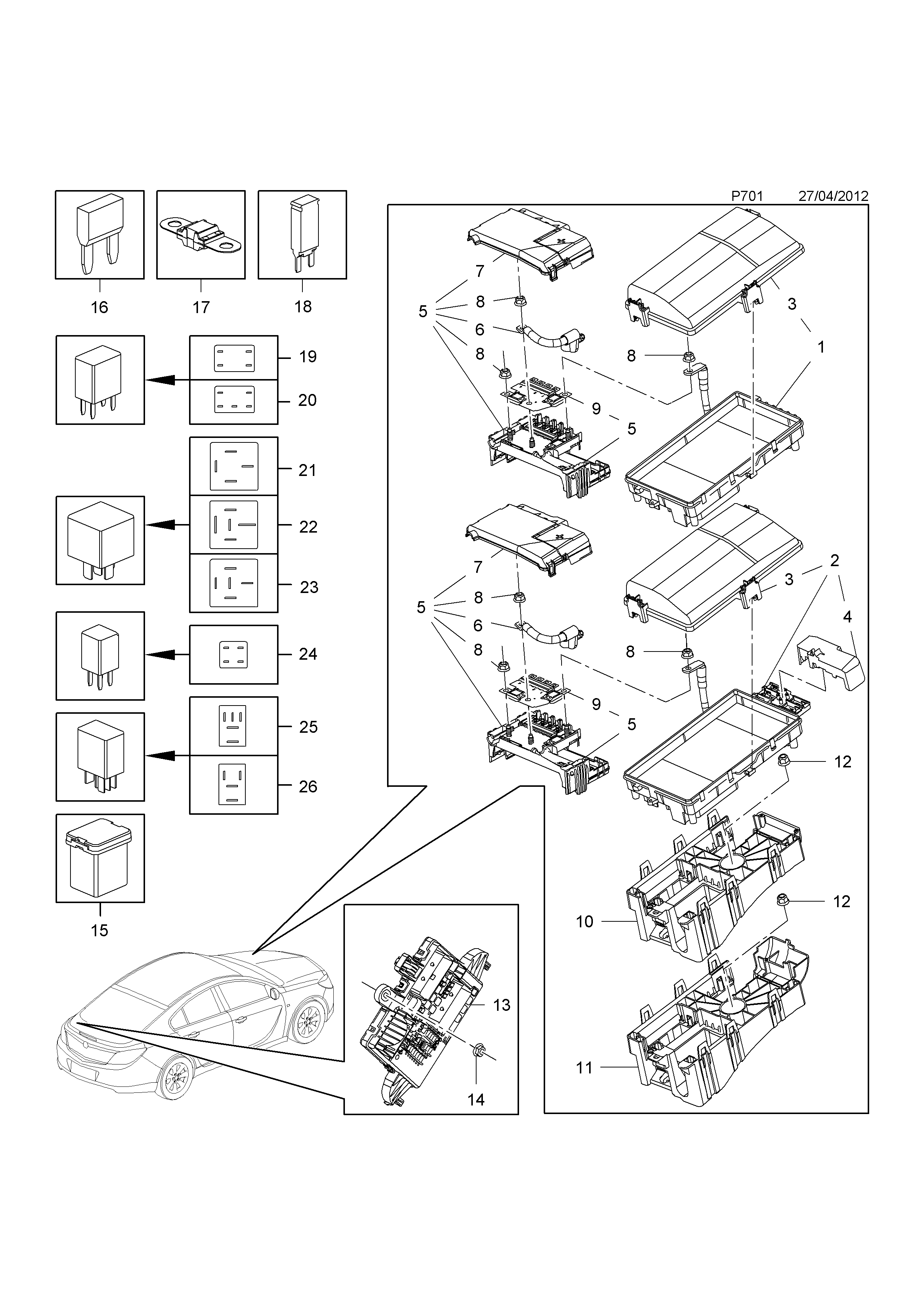 Opel Insignia 2009 P Electrical 10 Fuse Boxfuses And Relays A Diagram List Of Parts