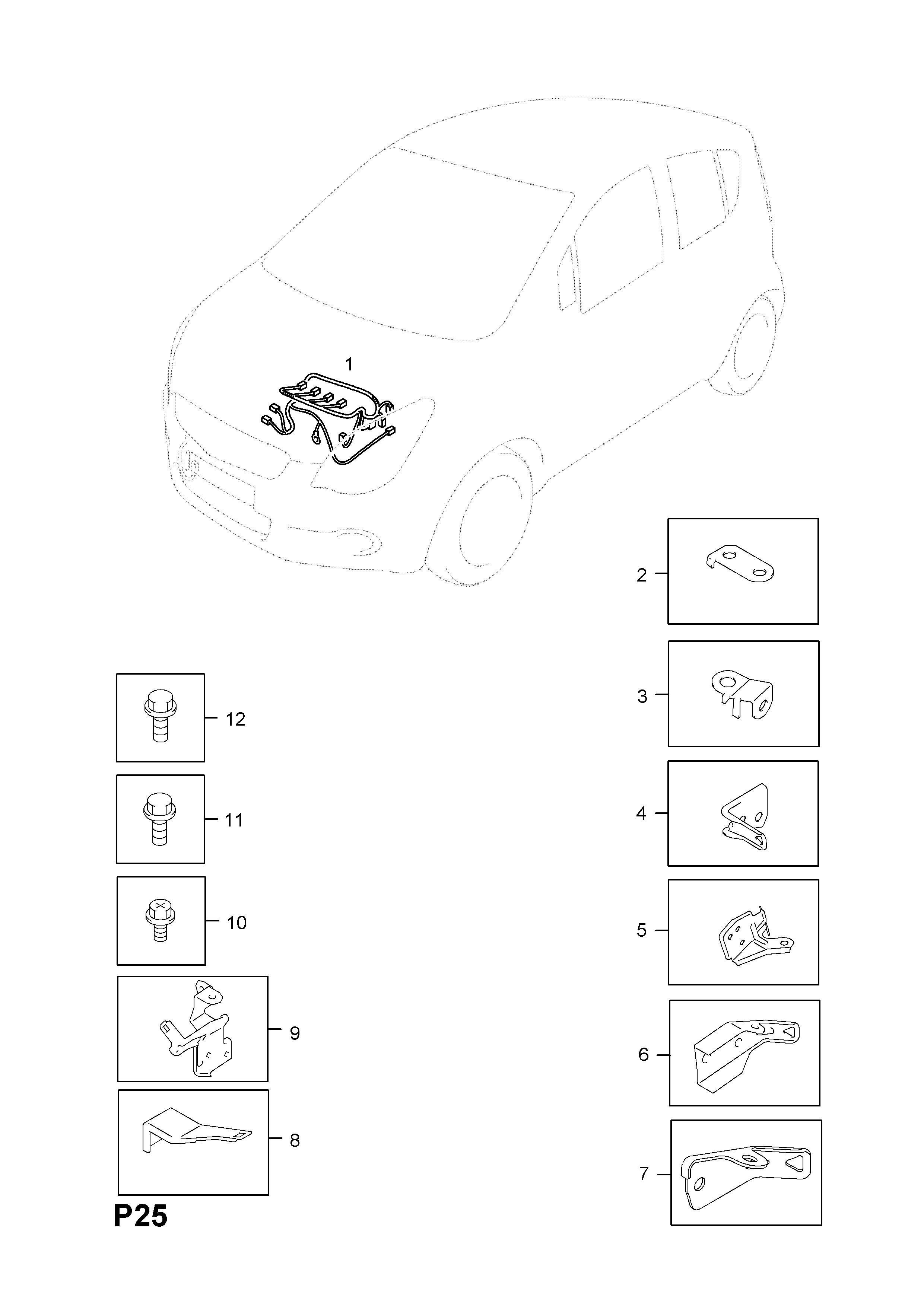 Opel AGILA-B ( 2008 - ), P ELECTRICAL, 9 WIRING HARNESS, 7.K10B,K12B on