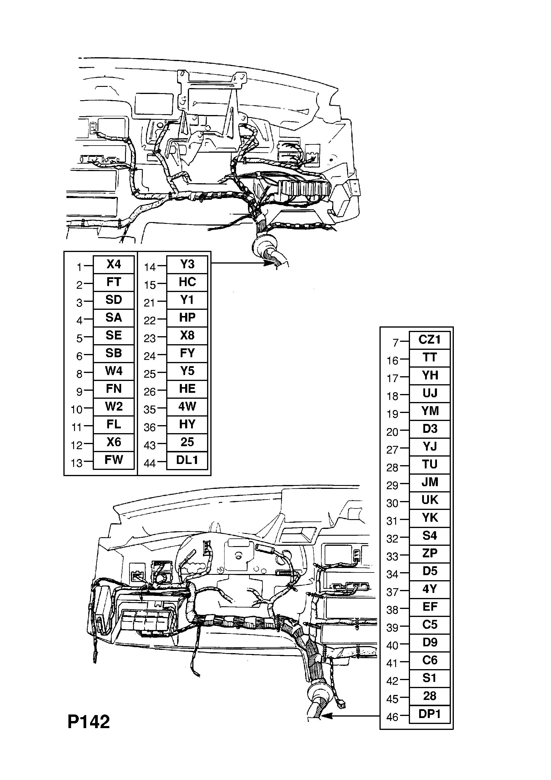 Vauxhall Cavalier 1989 1995 P Electrical 8 Wiring Harness 88 Ef Gm Part Number Genuine Description Range Instrument Panel
