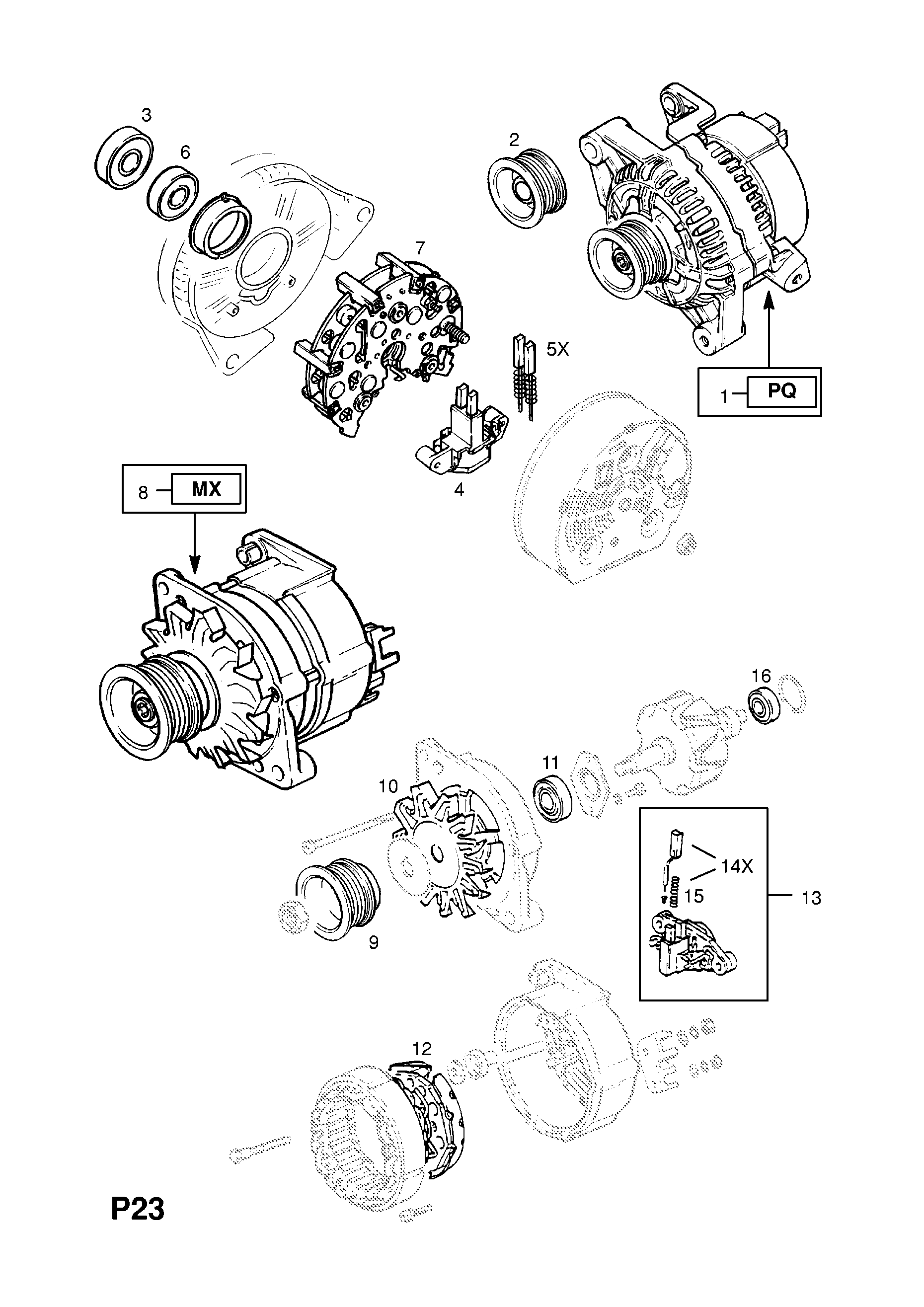 Vauxhall Cavalier 1989 1995 P Electrical 1 Engine And Cooling Bosch Starter Motor Wiring Diagram List Of Parts