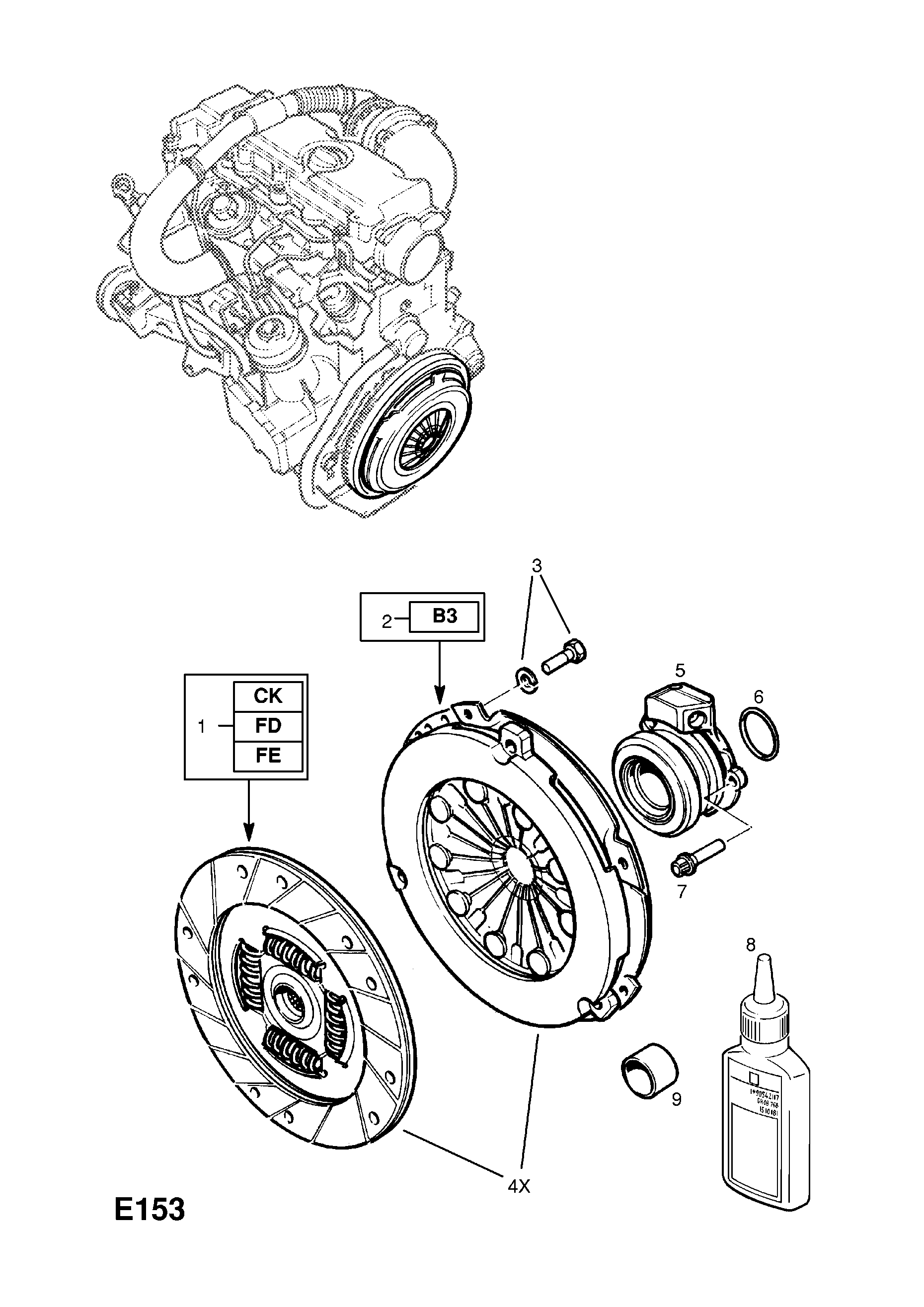 Vauxhall Vectra B 1996 2002 E Engine And Clutch 12 X20dtlld3 Opel Transmission Diagrams List Of Parts
