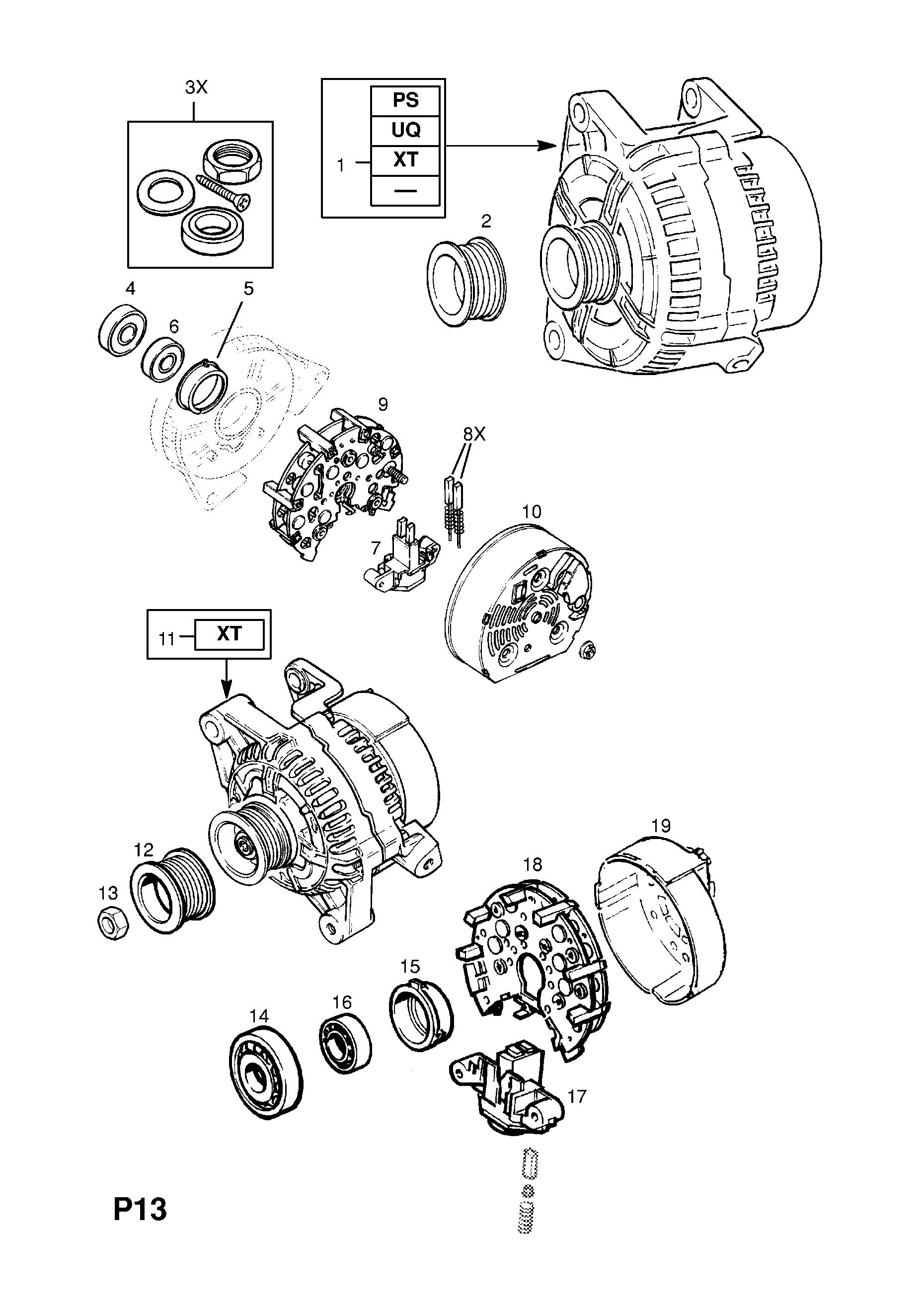Vauxhall Vectra B 1996 2002 P Electrical 1 Engine And Cooling Bosch Starter Motor Wiring Diagram List Of Parts