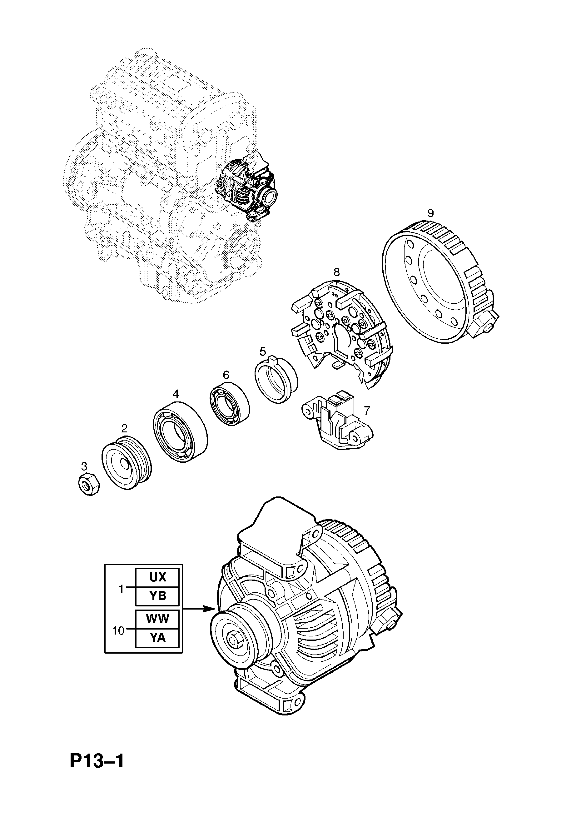 vauxhall vectra b 1996 2002 p electrical 1 engine and cooling GMCs Alternator Wiring Diagram gm part number genuine part number description range alternator