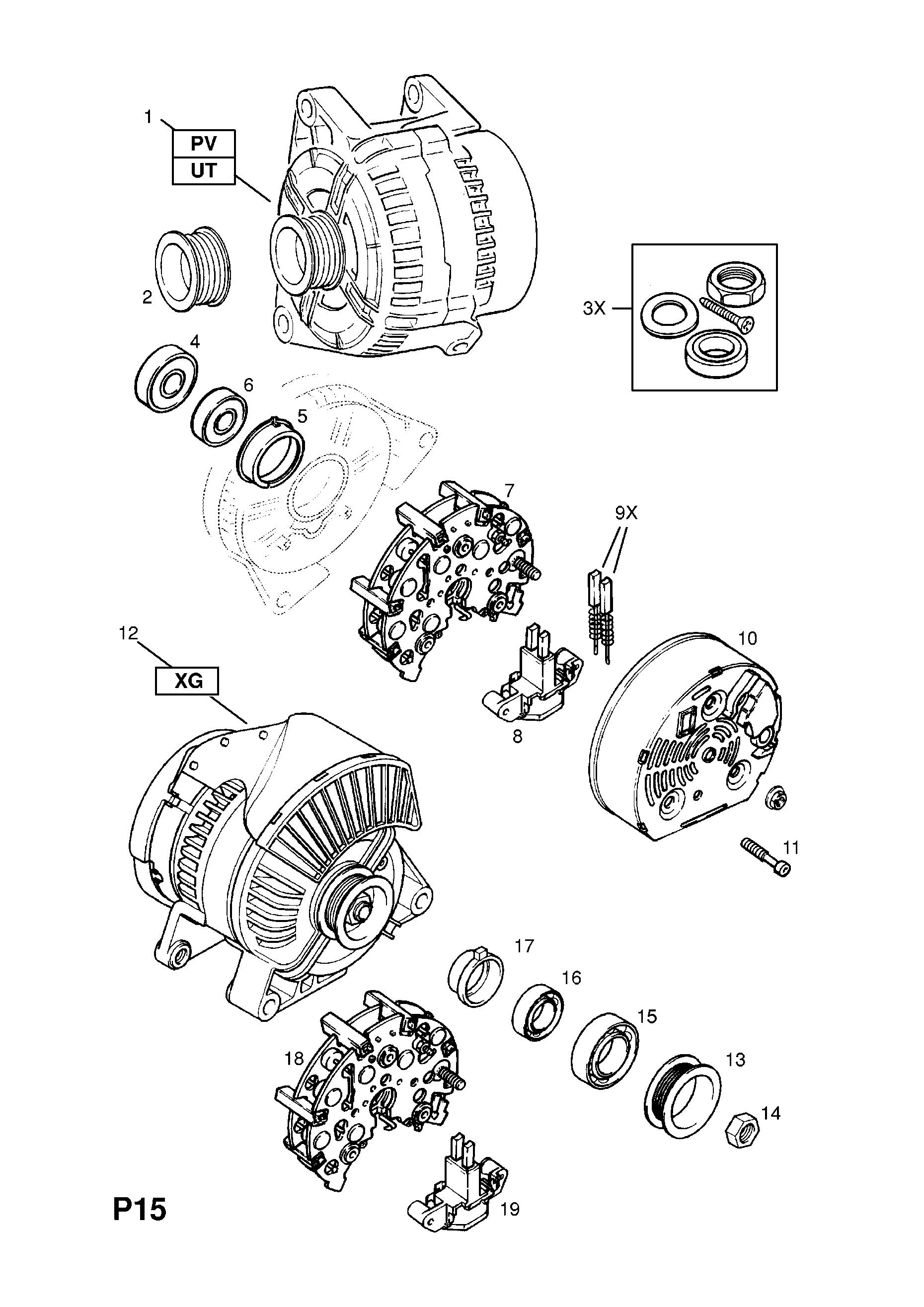 Vauxhall Vectra B 1996 2002 P Electrical 1 Engine And Cooling Gm Alternator Wiring Diagram Part Number Genuine Description Range