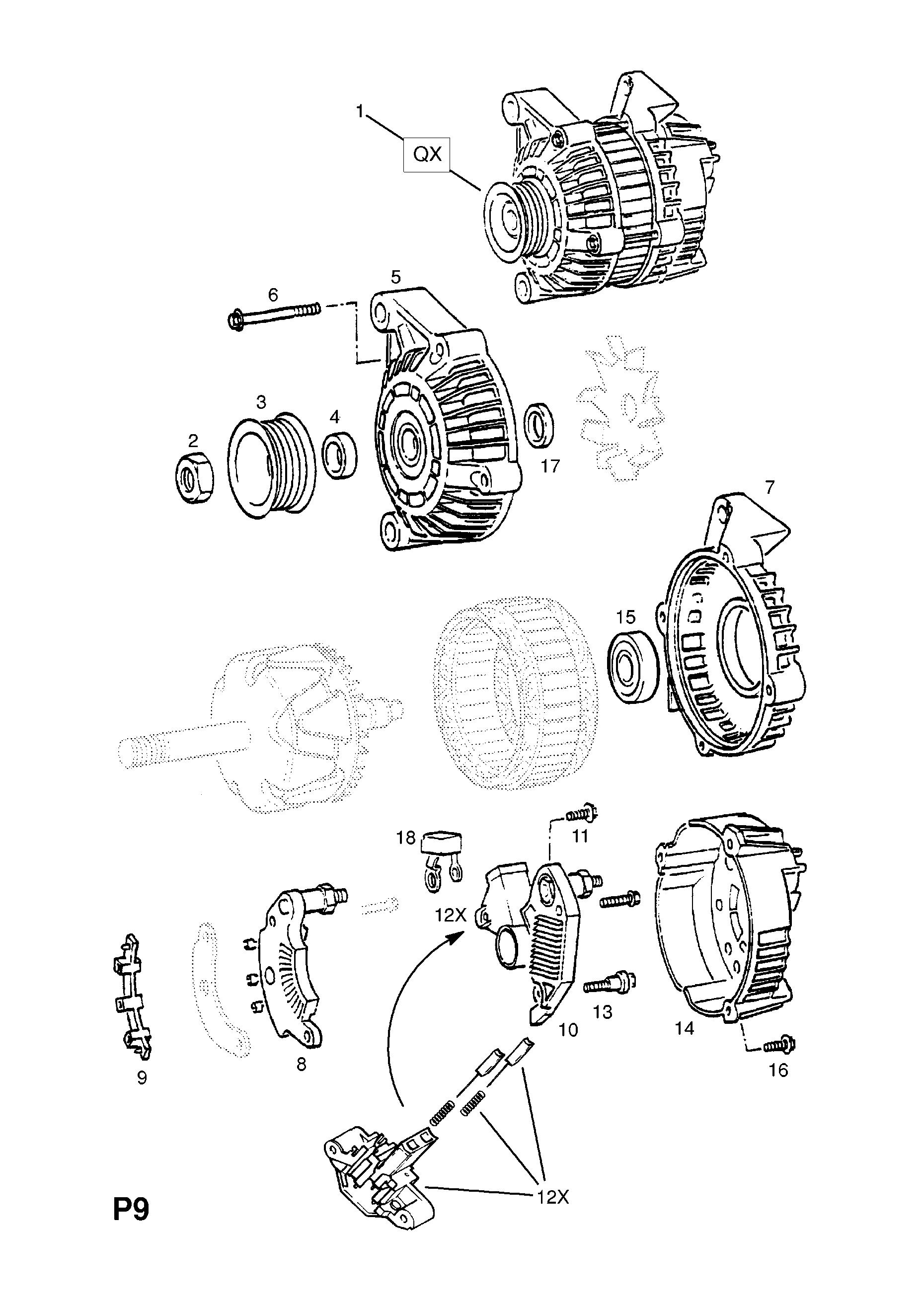 opel vectra b 1996 2002 p electrical 1 engine and cooling 9 1996 Chrysler Alternator Wiring Diagram gm part number genuine part number description range