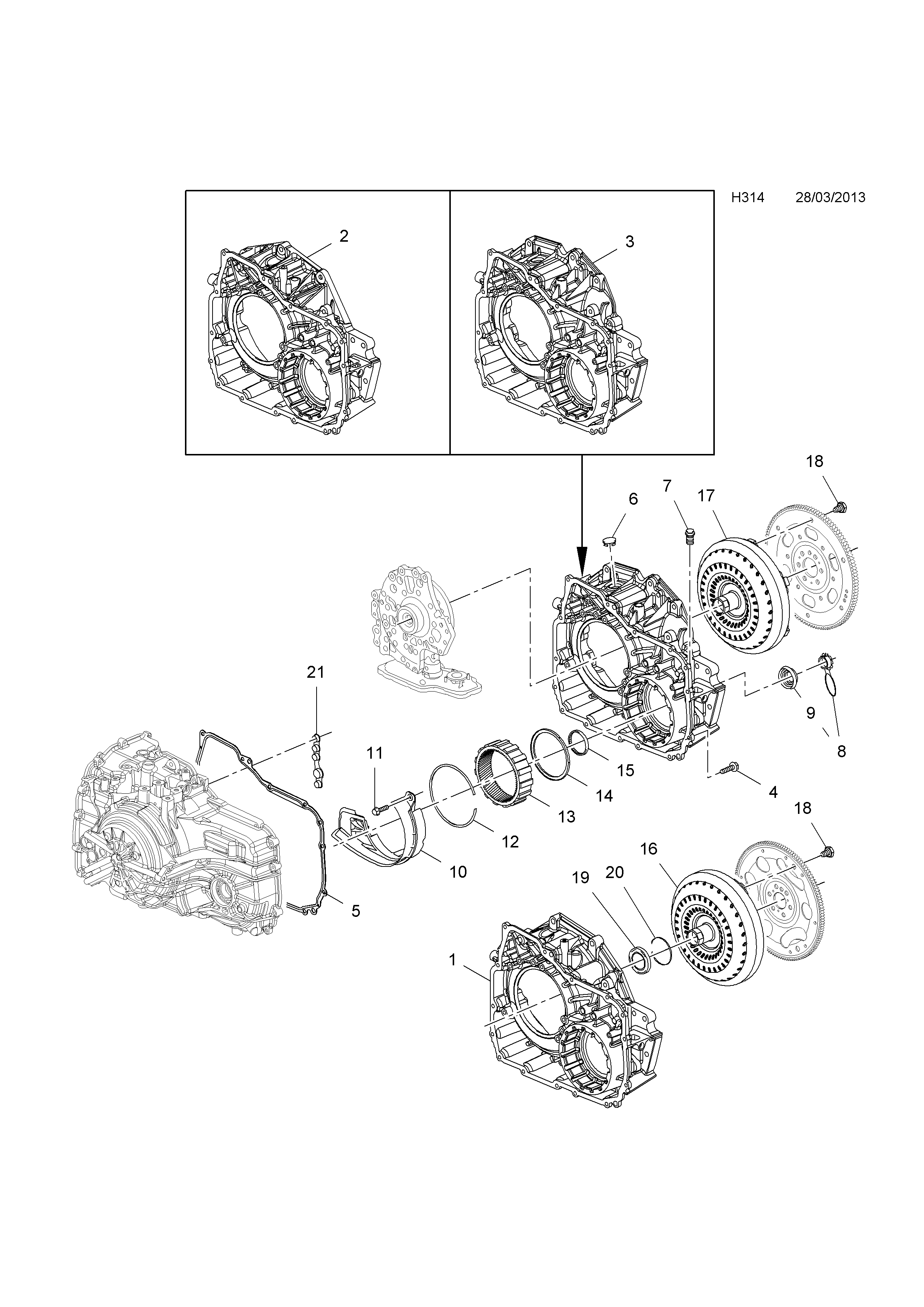 Opel Antara 2007 H Transmission 4 6 Speed Automatic Diagrams List Of Parts
