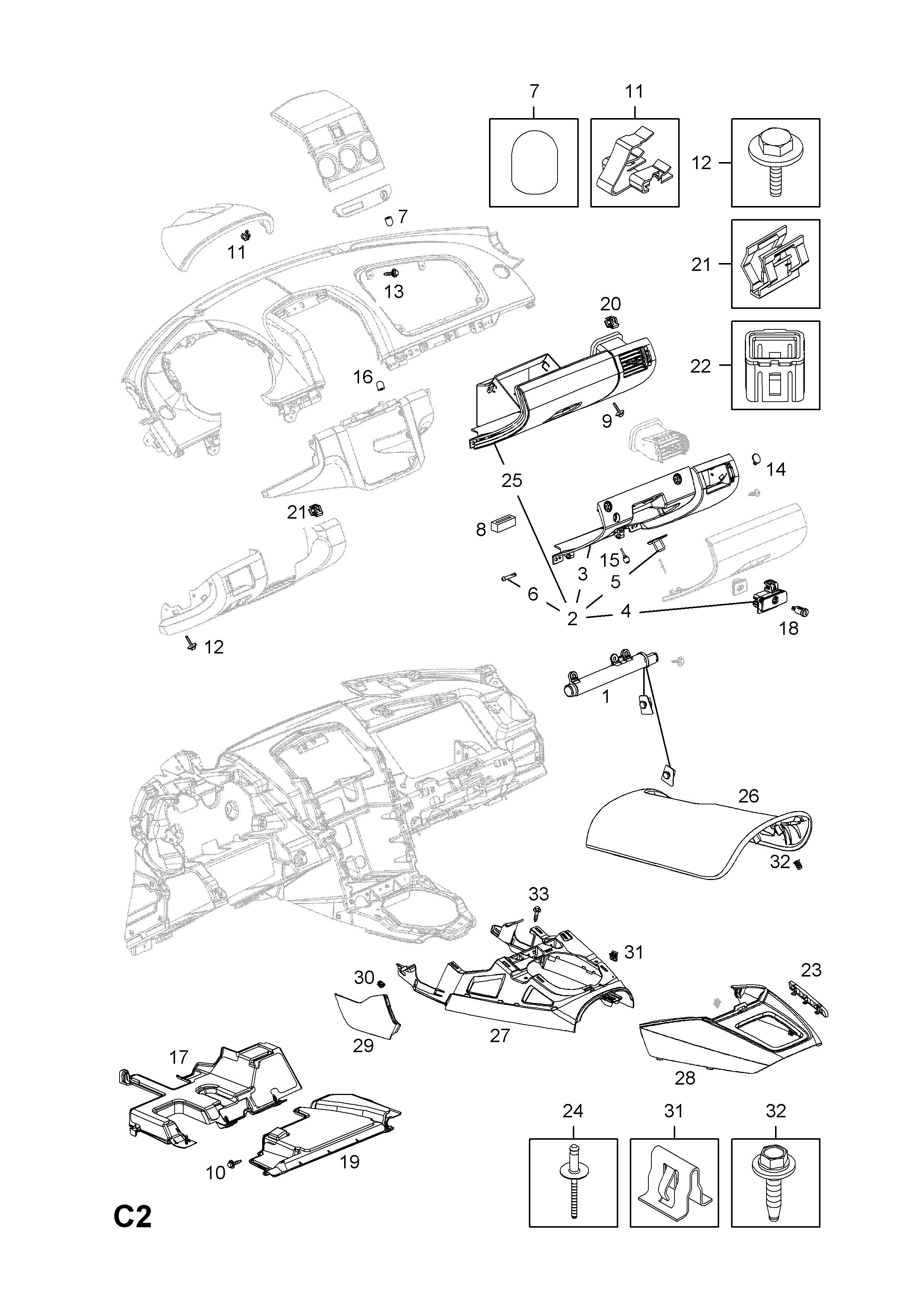 opel opel gt 2007 2009 c body interior fittings 2 instrument Opal GT list of parts