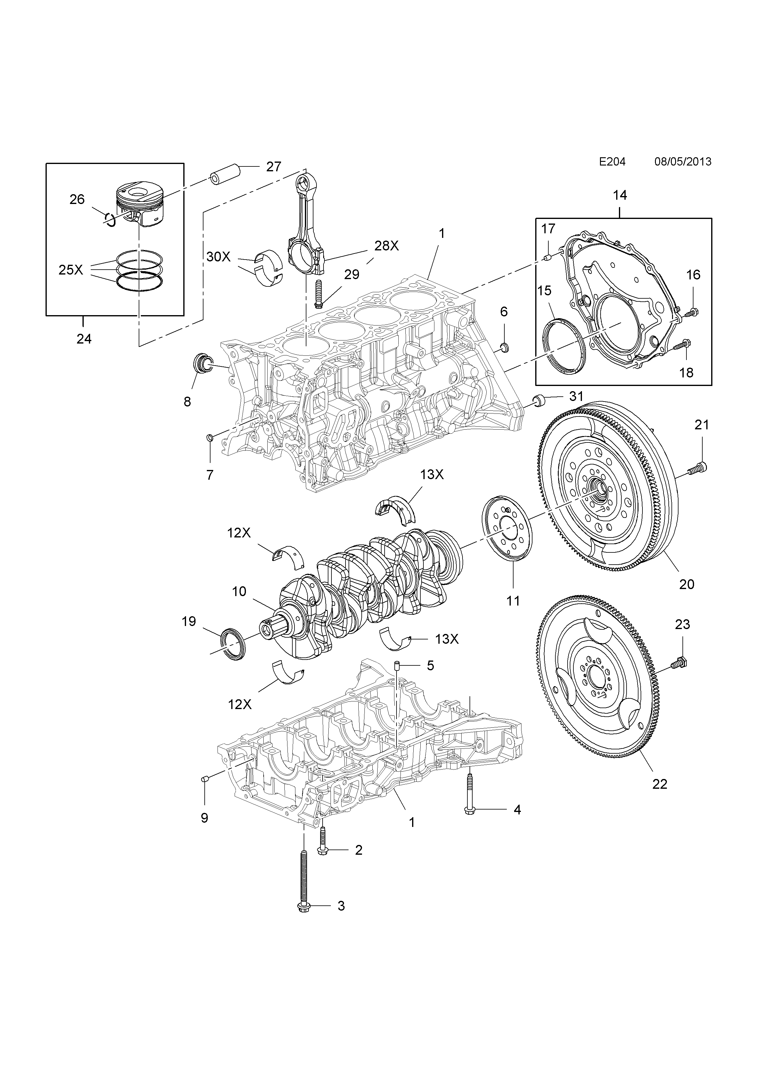 Opel zafira c 2012 e engine and clutch 2 a16xhtlvp list of parts ccuart Image collections
