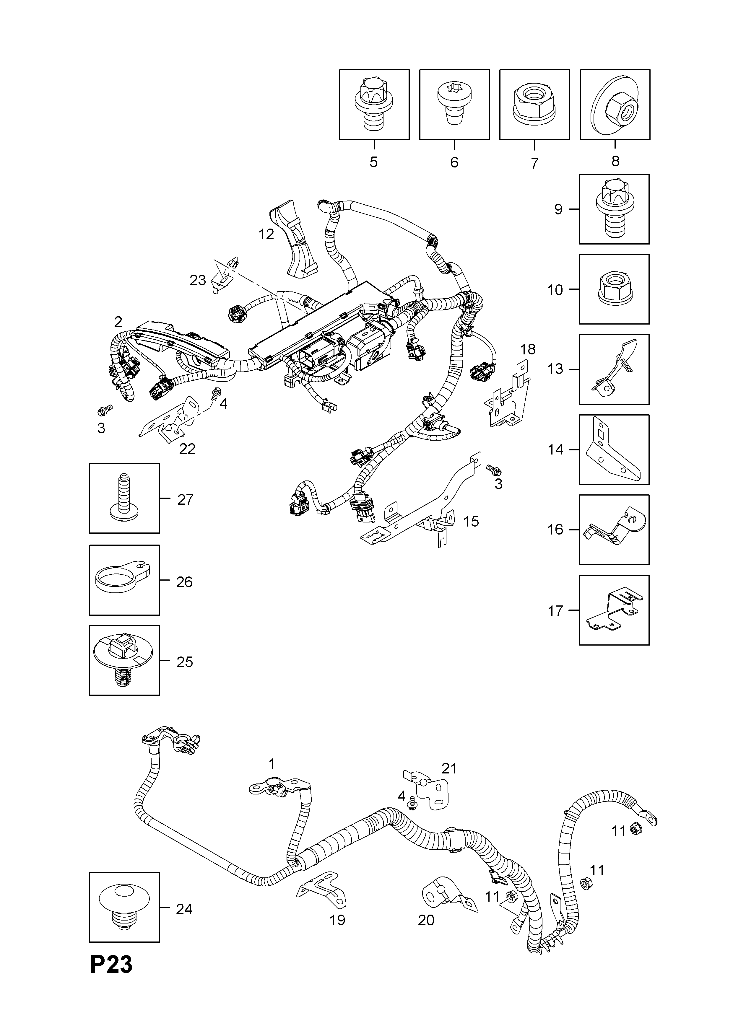list of parts  model � opel corsa-d ( 2007 - ) � p electrical � 9 wiring  harness