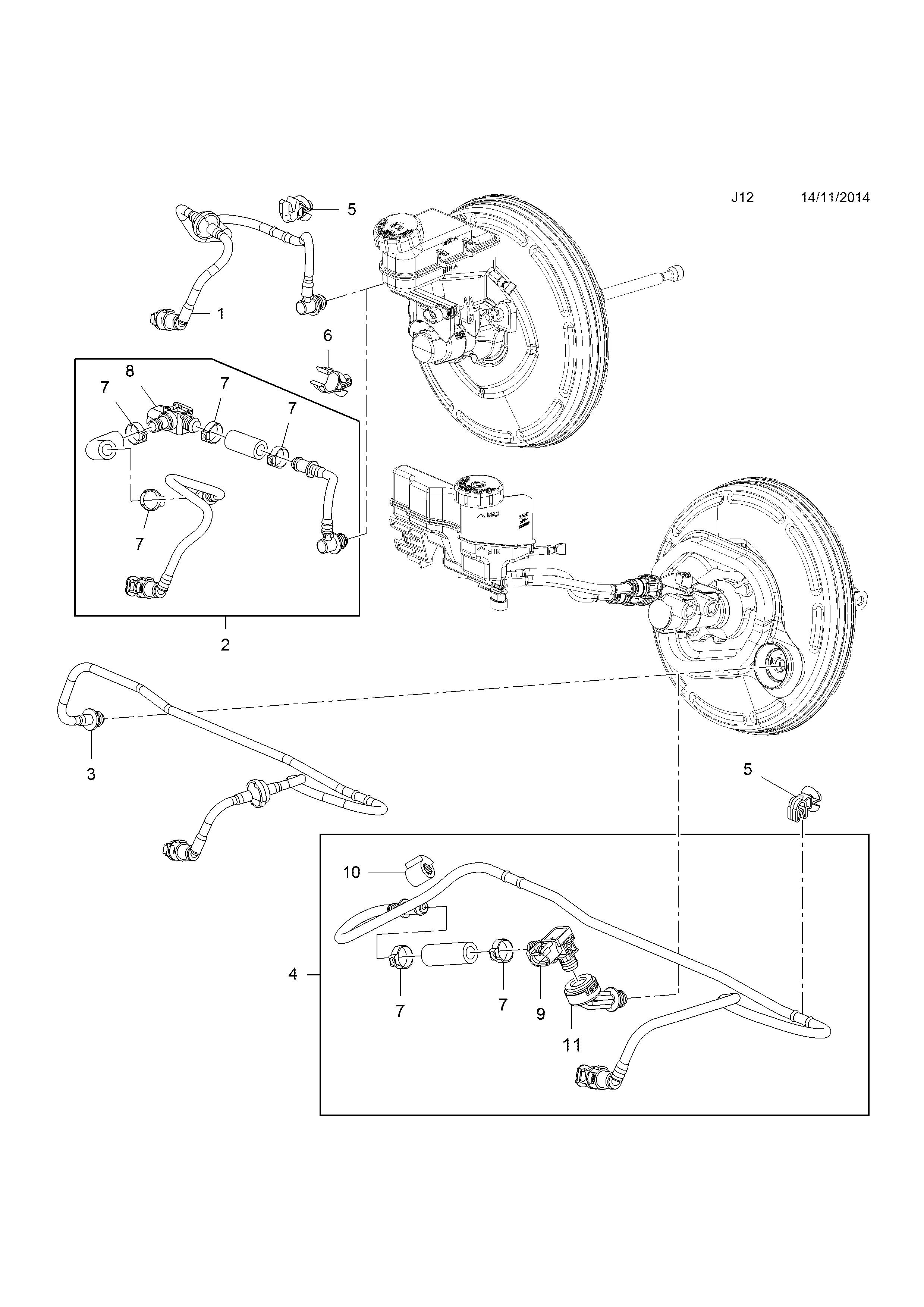 Opel Meriva B 2010 J Brakes 15brake Servo Unit Vacuum Pipe Diagram List Of Parts