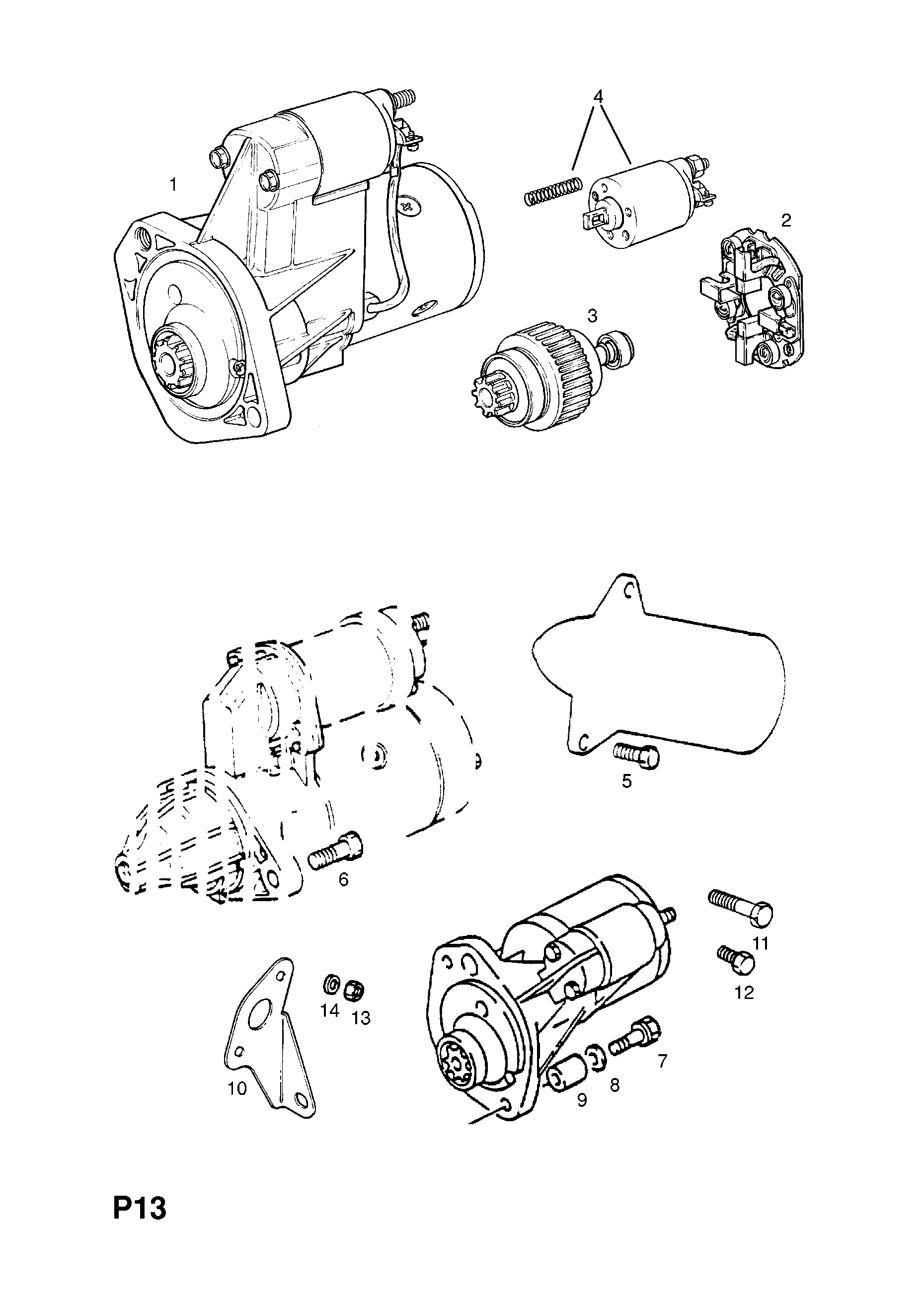 Opel Corsa A 1983 1992 P Electrical 1 Engine And Cooling 124 Starter Motor Wiring Diagram List Of Parts