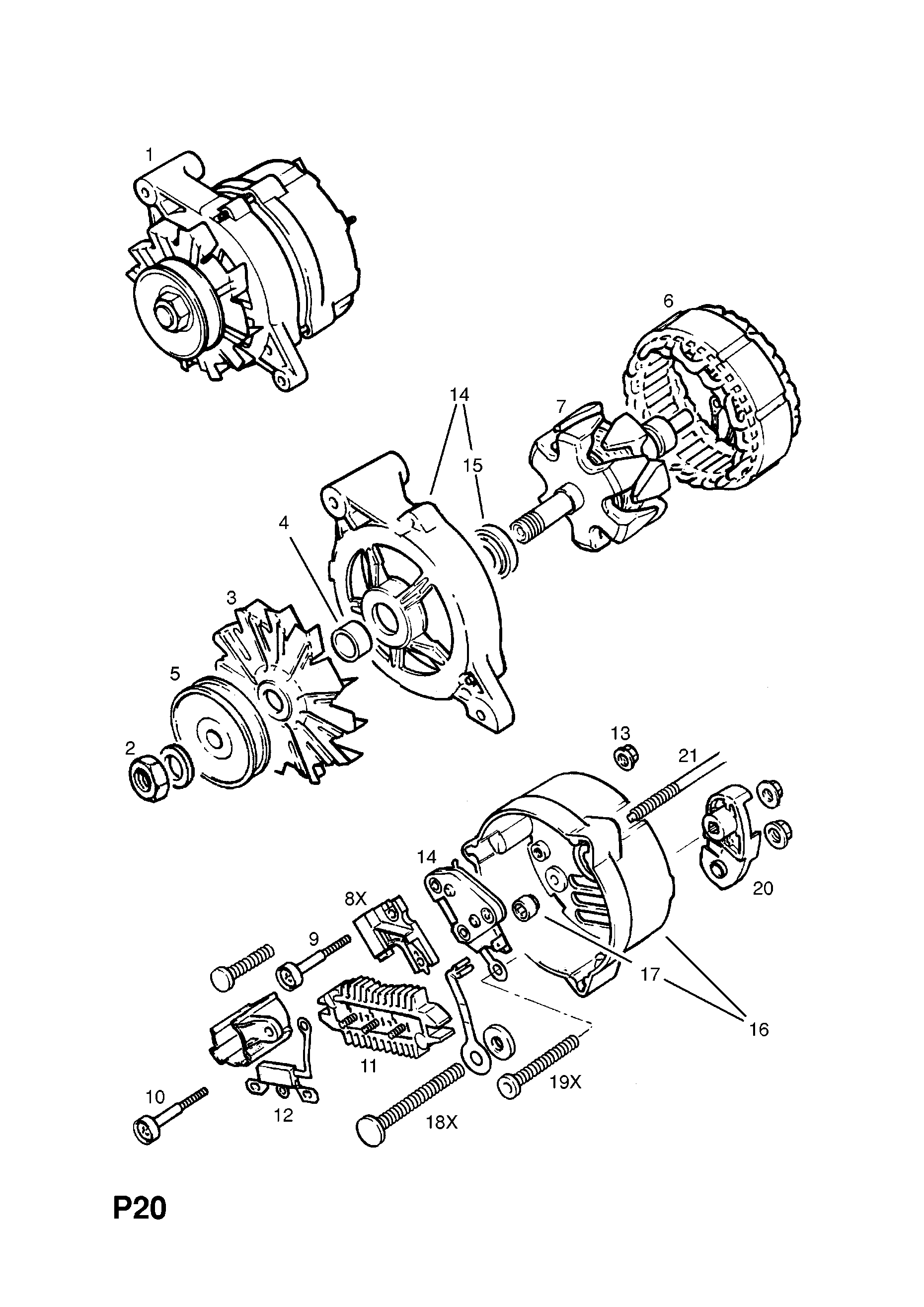 Opel Corsa A 1983 1992 P Electrical 1 Engine And Cooling Diagram List Of Parts
