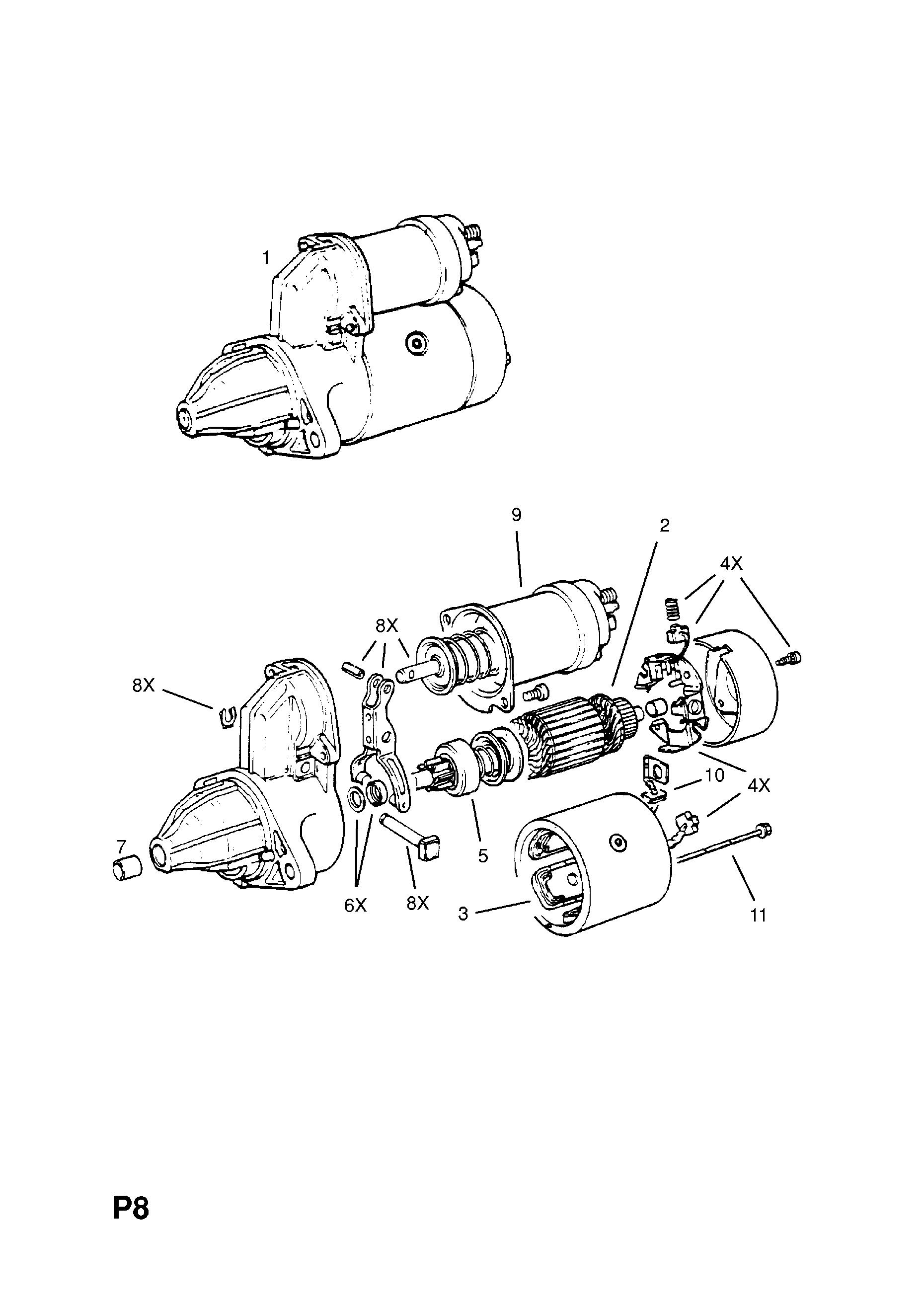 opel corsa-a ( 1983 - 1992), p electrical, 1 engine and cooling, 119.13s[lx9 ],13nb[ly1],13sb[lx9],c13n[l72] petrol engines - catcar.info  catcar.info