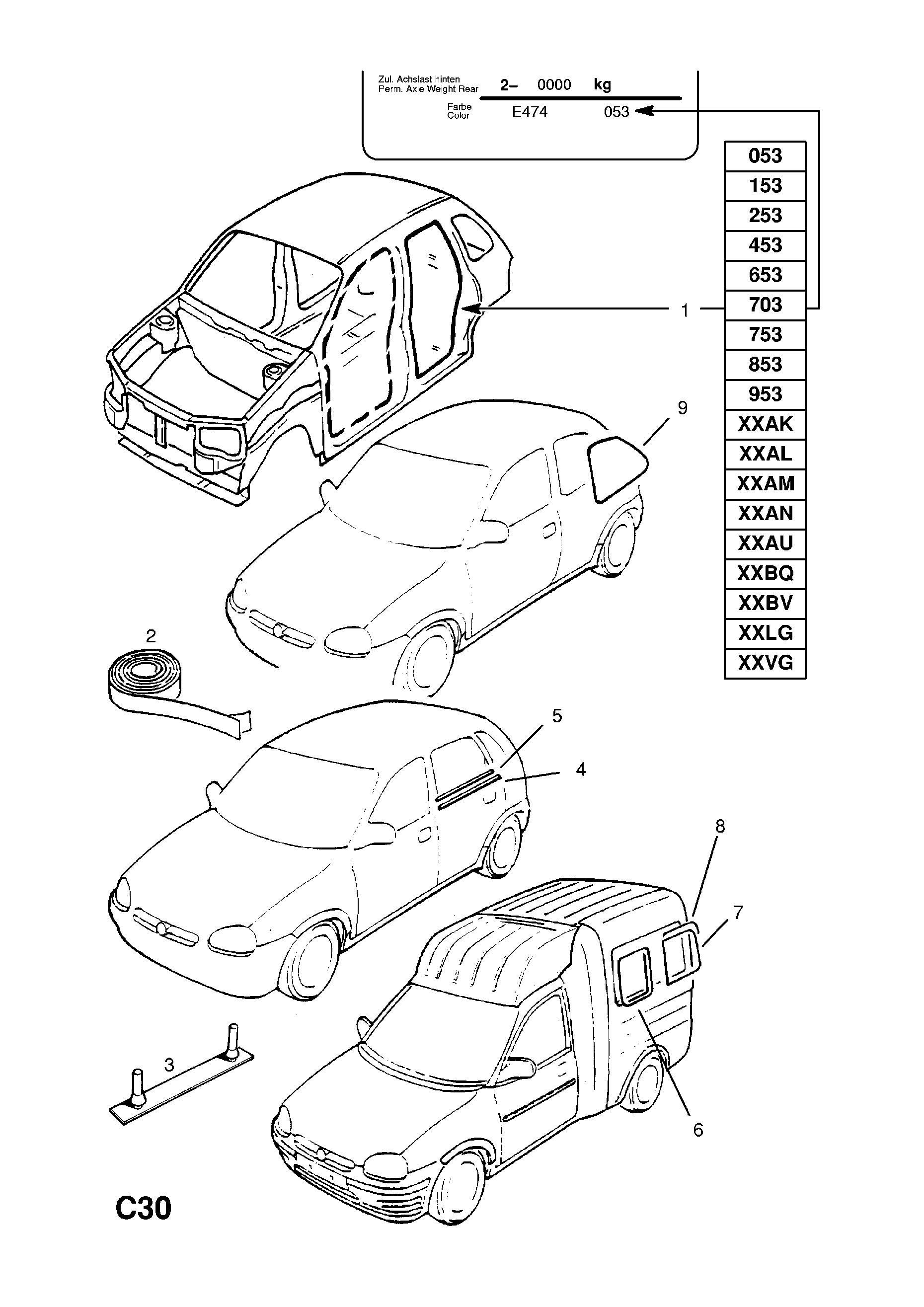 vauxhall corsa b 1993 2002 c body interior fittings 8 Cat Light Wiring Diagram list of parts