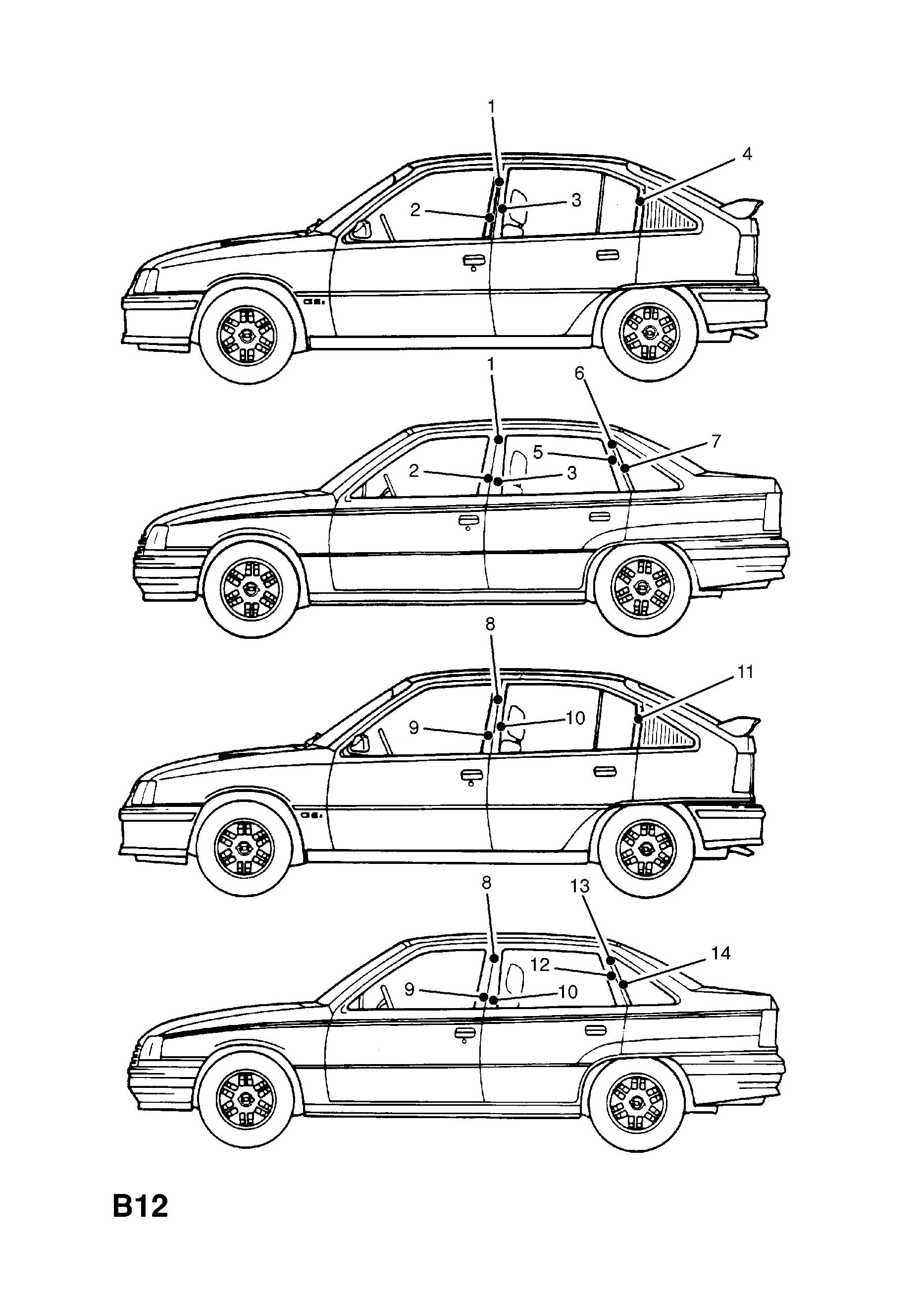 opel kadette e 1985 1993 b body exterior fittings 5 body 1972 Opel GT list of parts