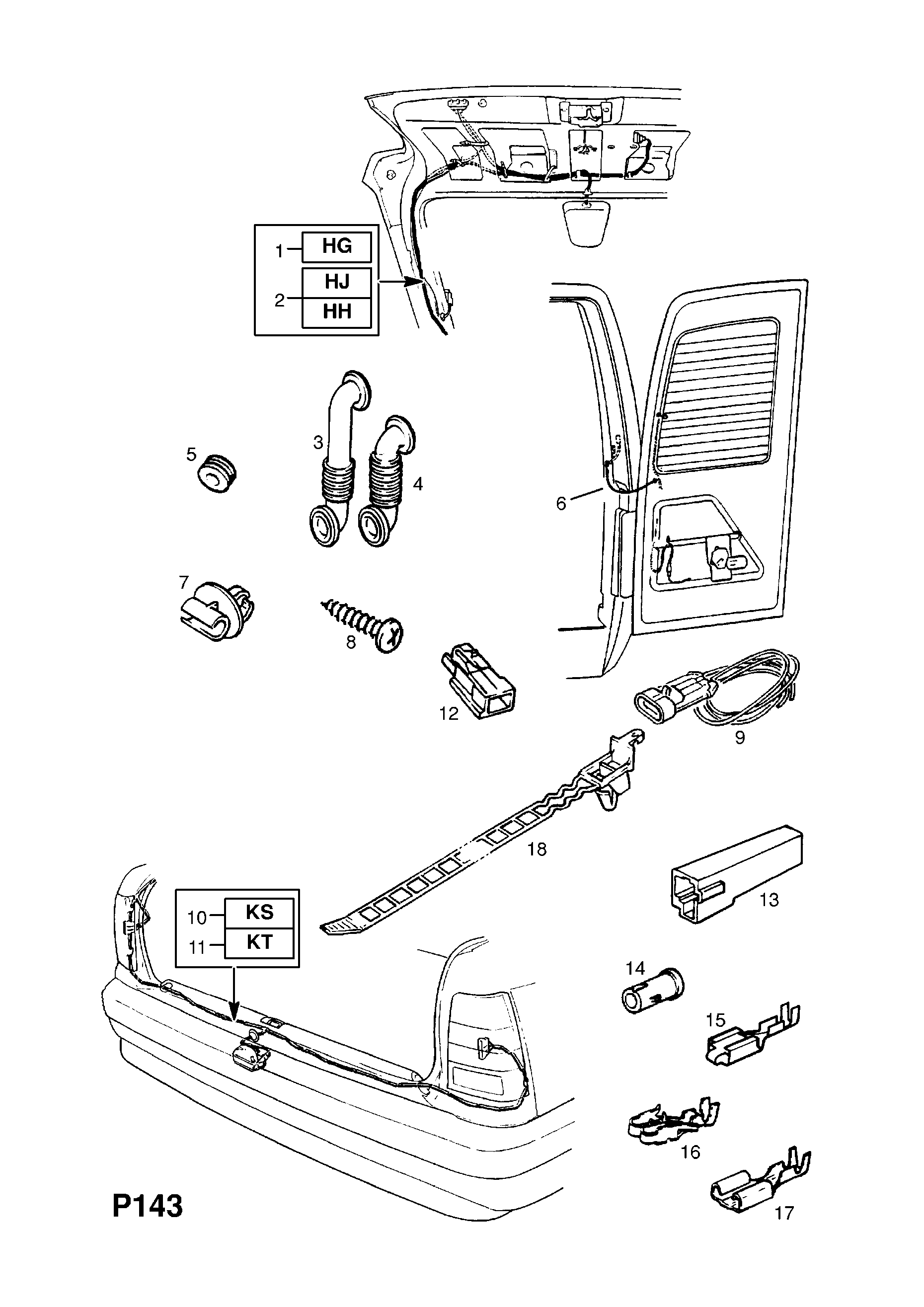 Opel Kadette E 1985 1993 P Electrical 8 Wiring Harness 71 Lift Gate Diagram Gm Part Number Genuine Description Range Tail